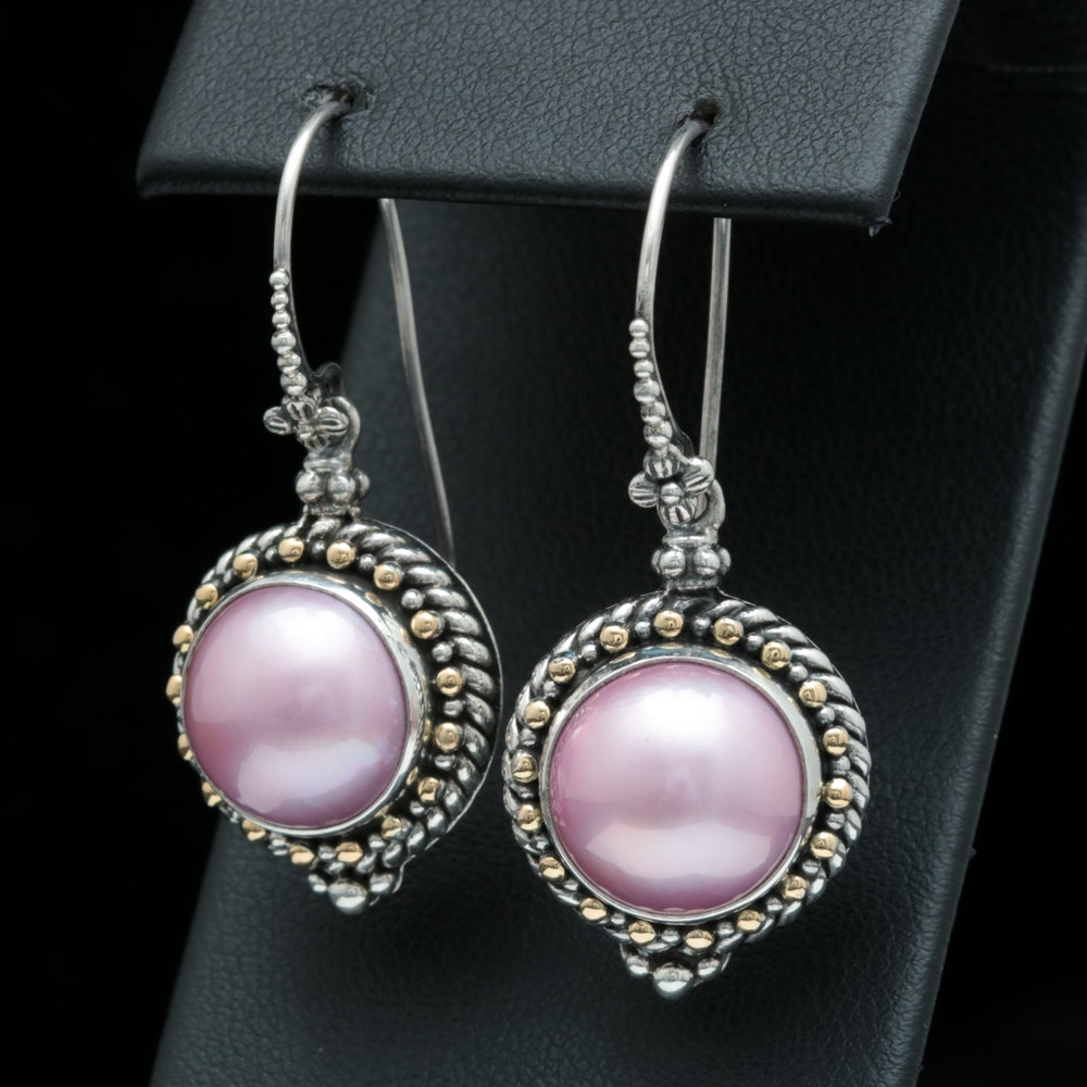Robert Manse Sterling Silver, 18K Yellow Gold and Pink Mabé Pearl Dangle Earring