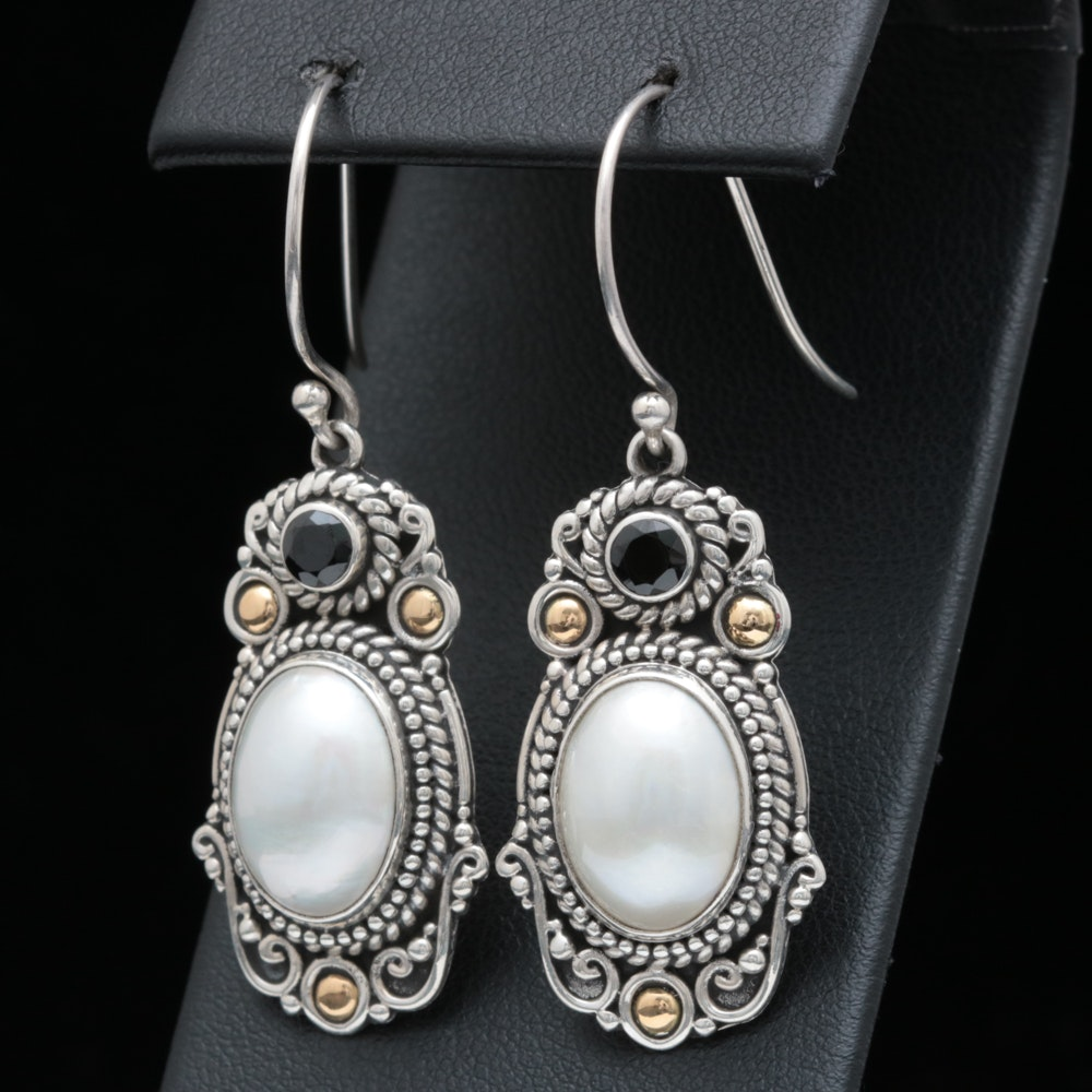 Robert Manse Sterling Silver, Mabé Pearl and Black Spinel Dangle Earrings