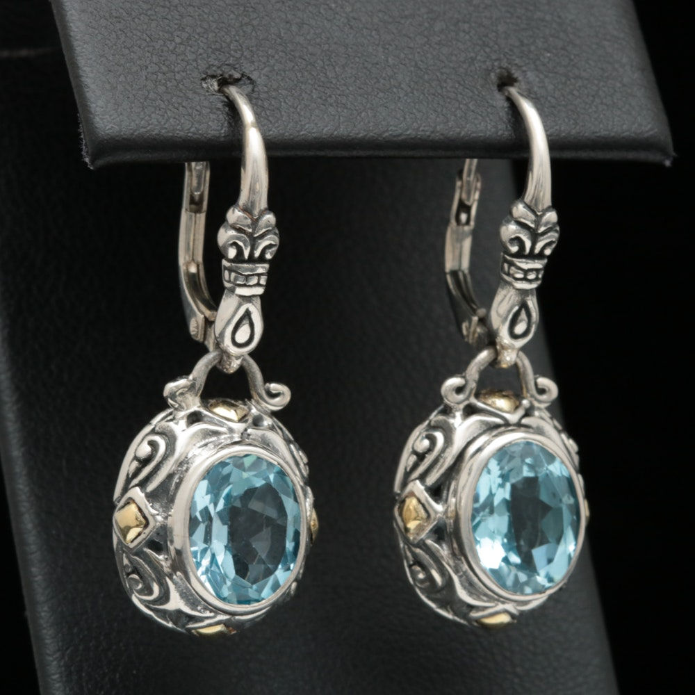 Robert Manse Sterling Silver, 18K Yellow Gold and Blue Topaz Dangle Earrings