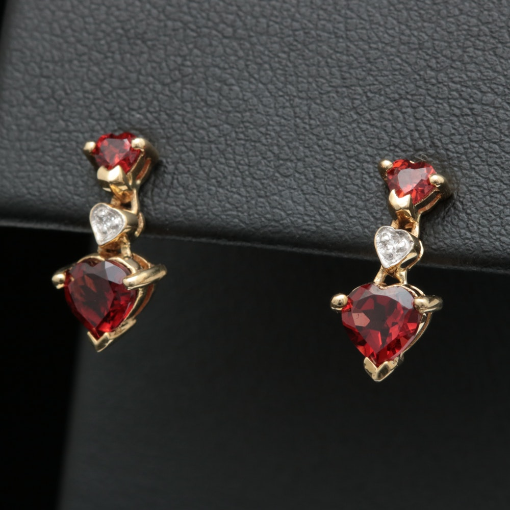 10K Yellow Gold, Garnet and Diamond Dangle Earrings