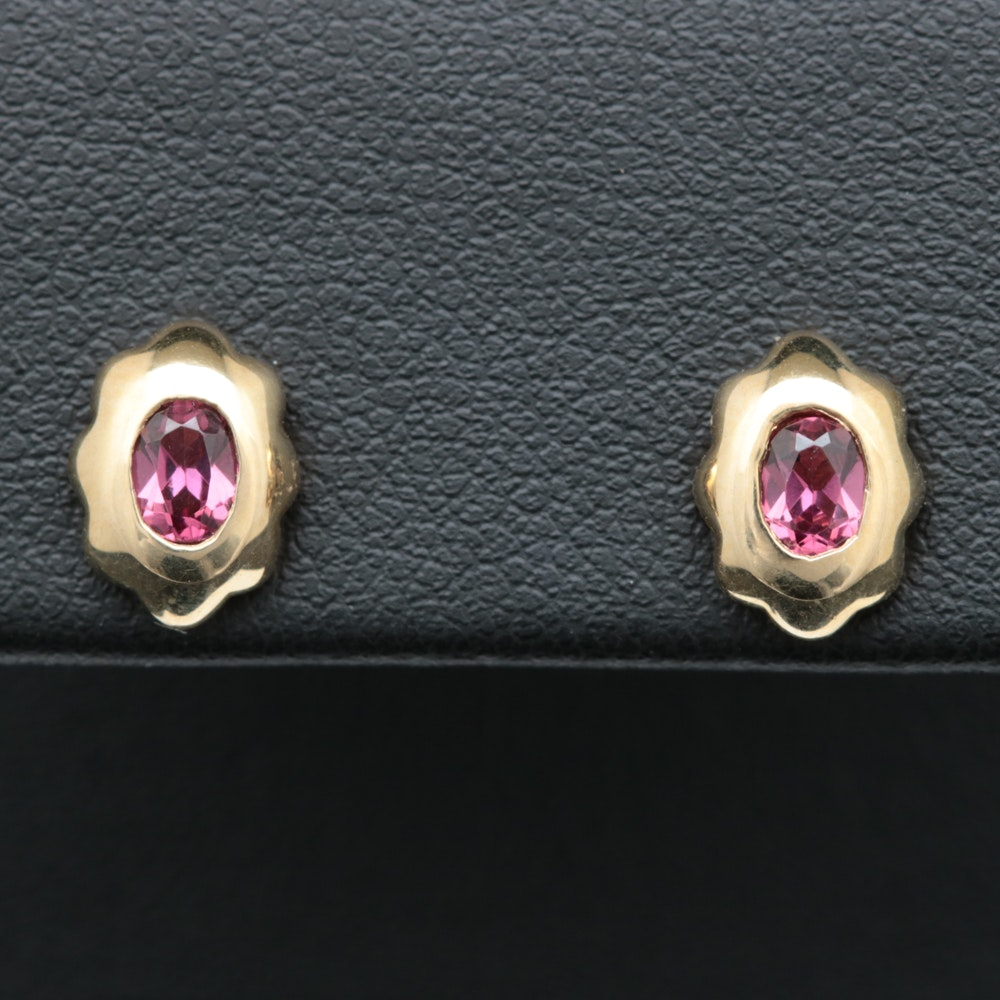 10K Yellow Gold and Garnet Earrings