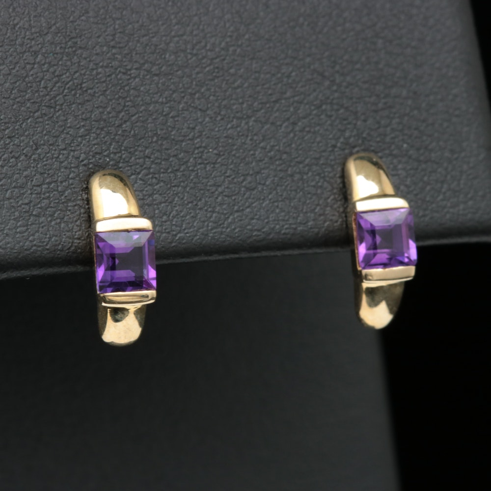 10K Yellow Gold and Amethyst Earrings
