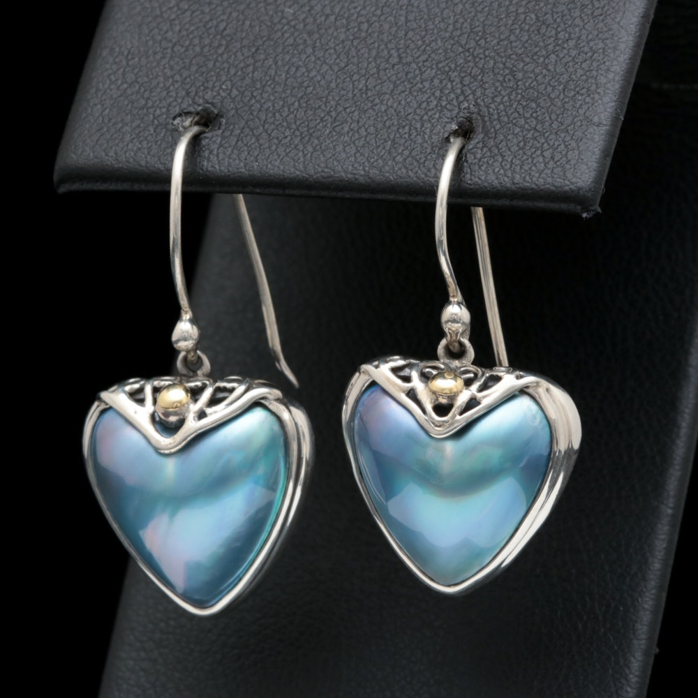 Robert Manse Sterling Silver, 18K Yellow Gold and Blue Mabé Pearl Heart Earrings