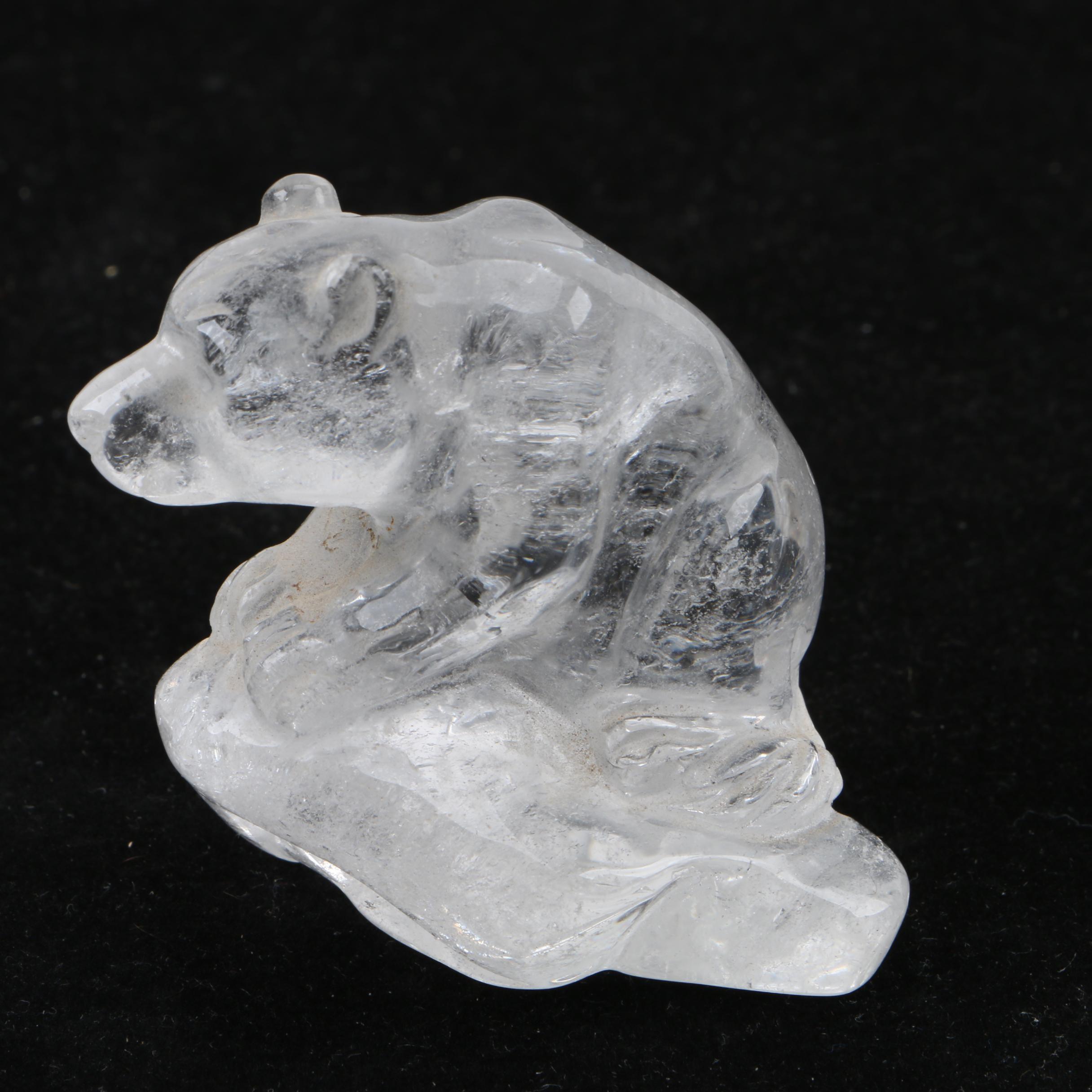 Carved Quartz Bear Figurine