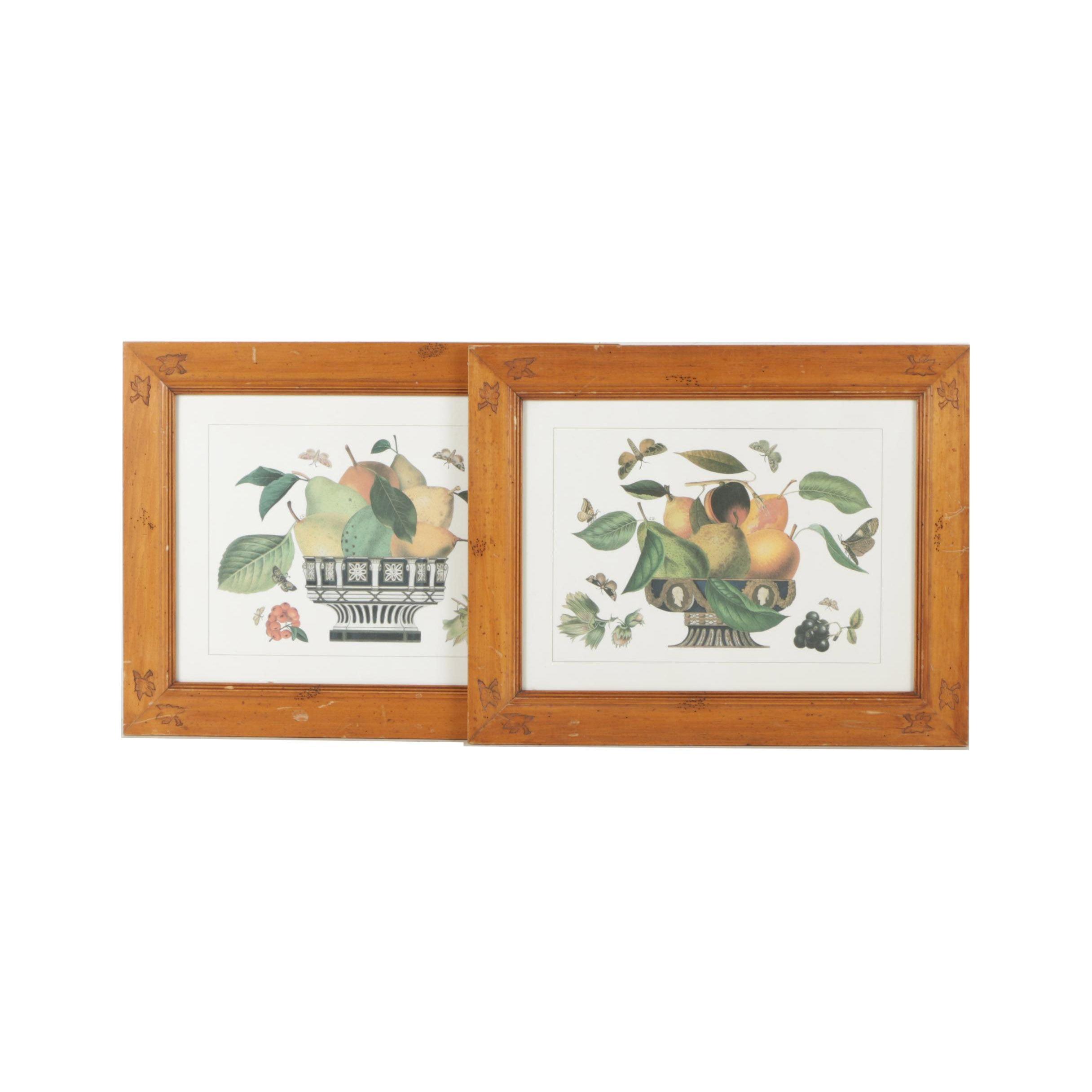 Decorative Offset Lithograph Prints of Fruit Bowls
