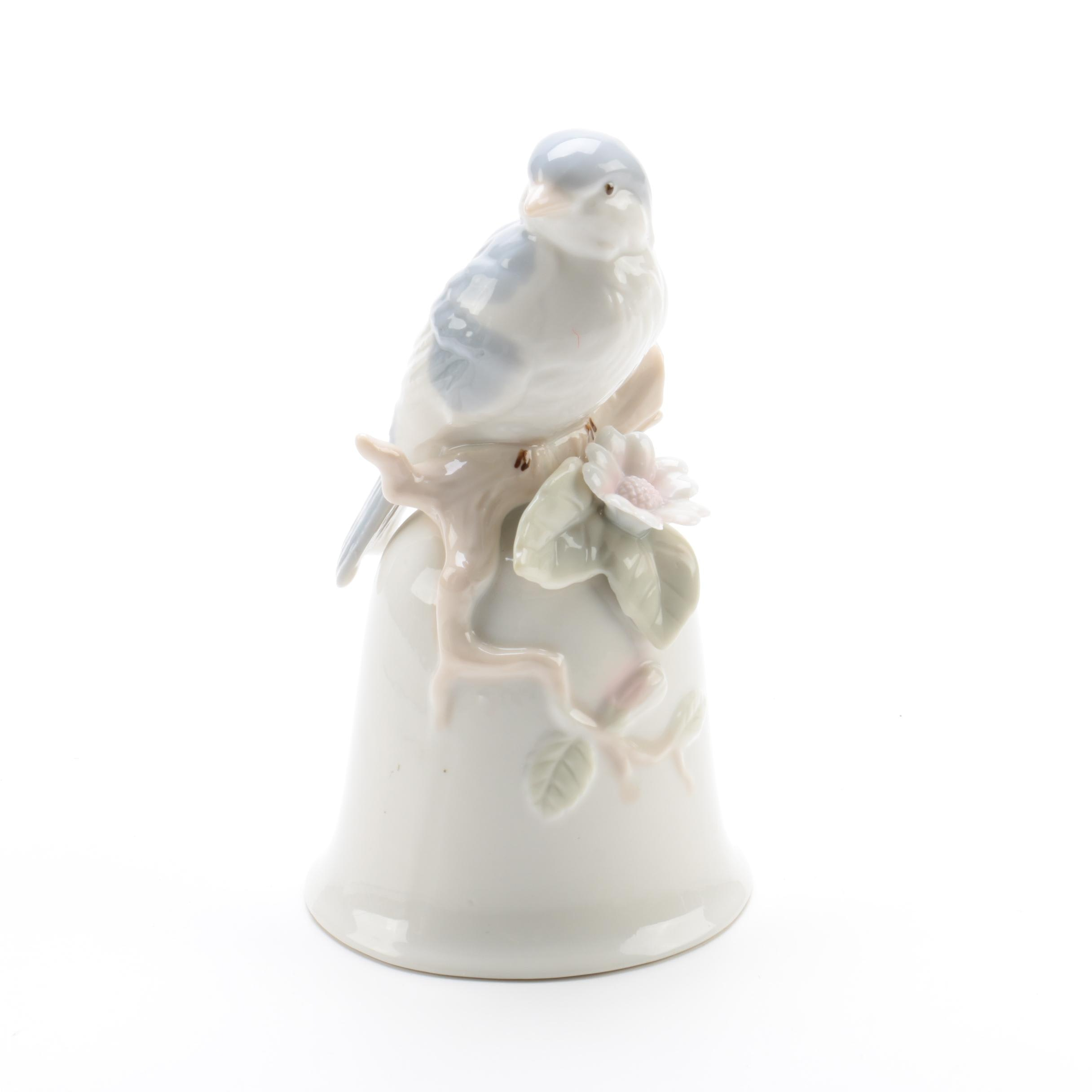 Porcelain Bell Accented with a Bird and Florals