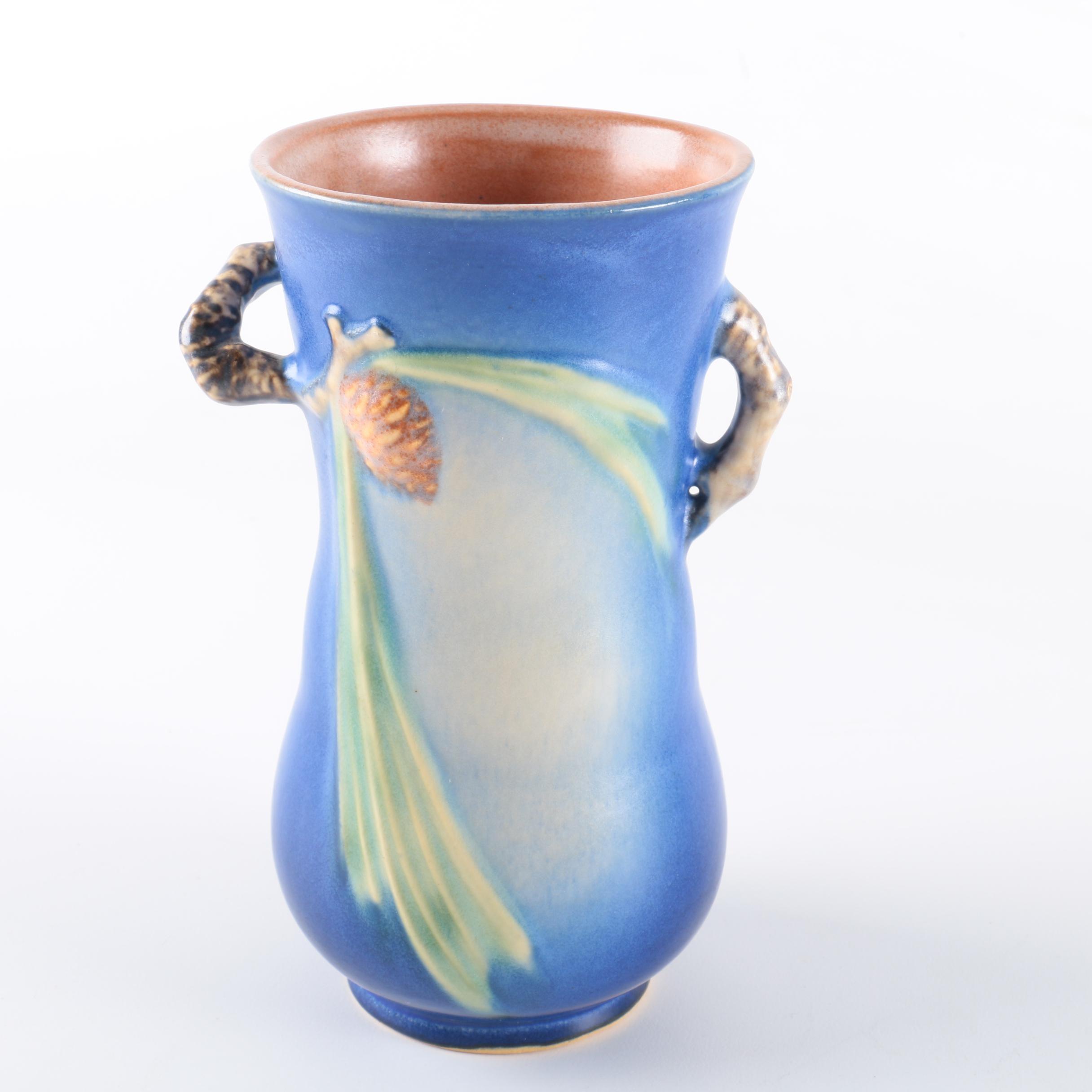 "Roseville Pottery Blue ""Pine Cone"" Vase"