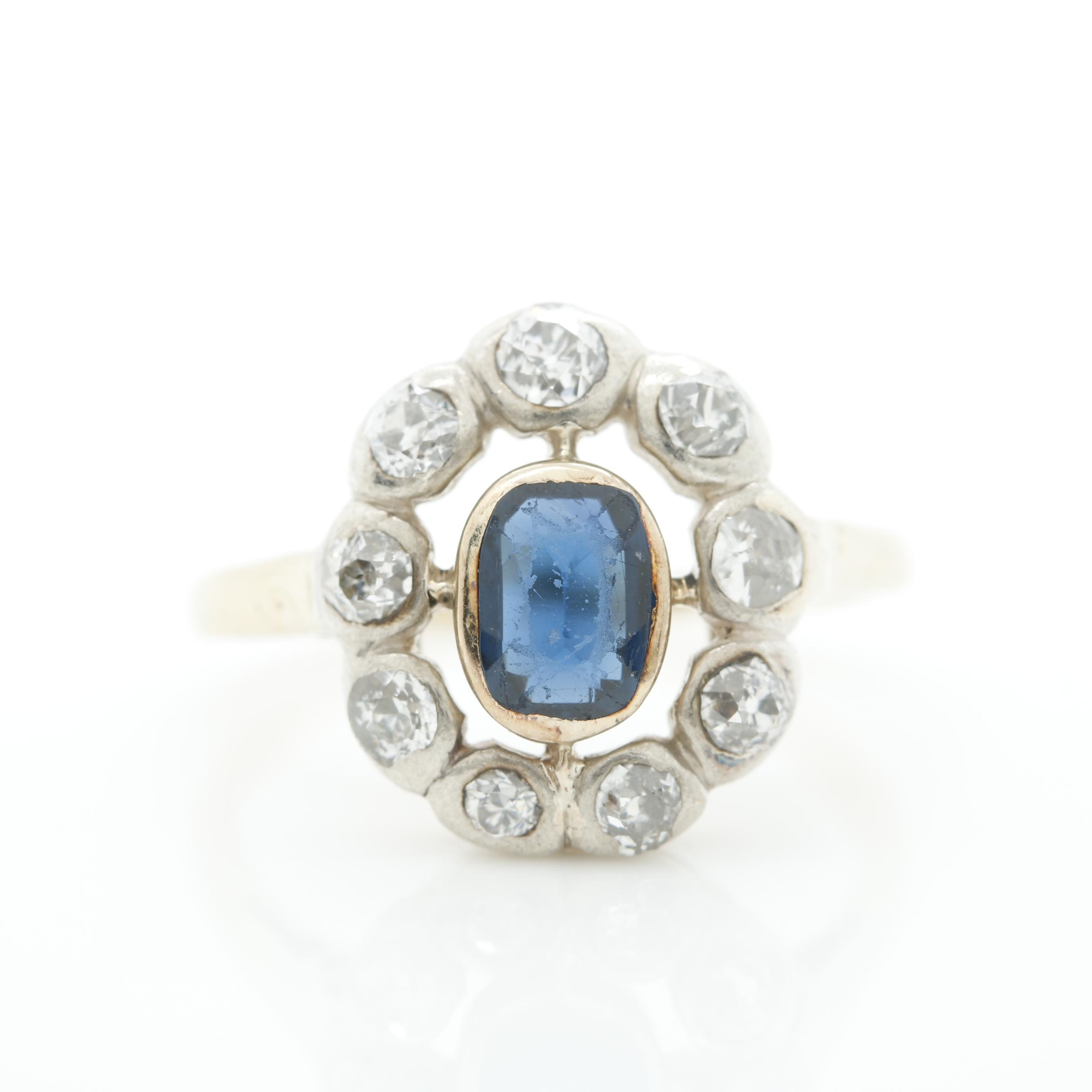 14K Yellow Gold and Sterling Silver Synthetic Sapphire and Diamond Ring