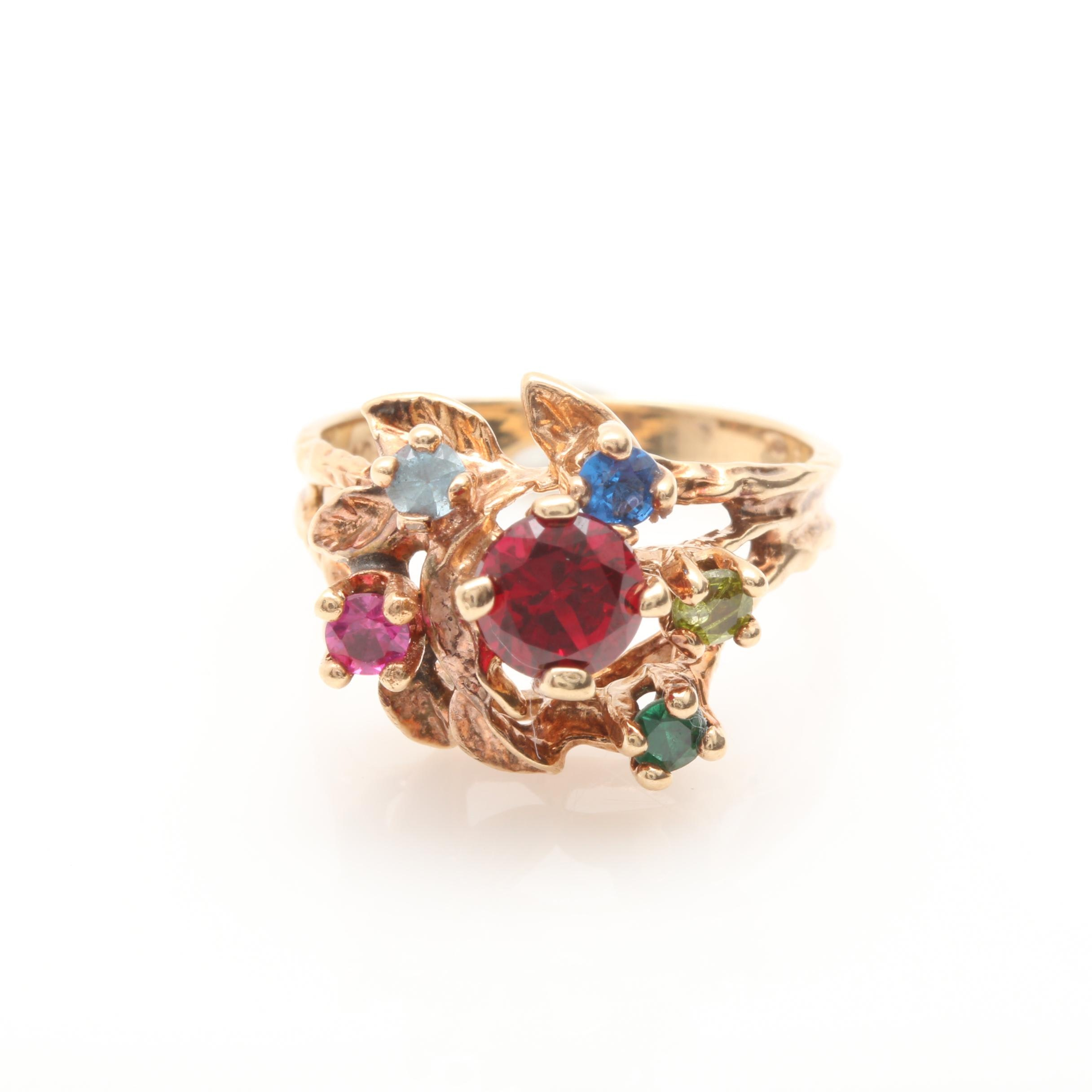 10K Yellow Gold Synthetic Spinel and Synthetic Ruby Ring