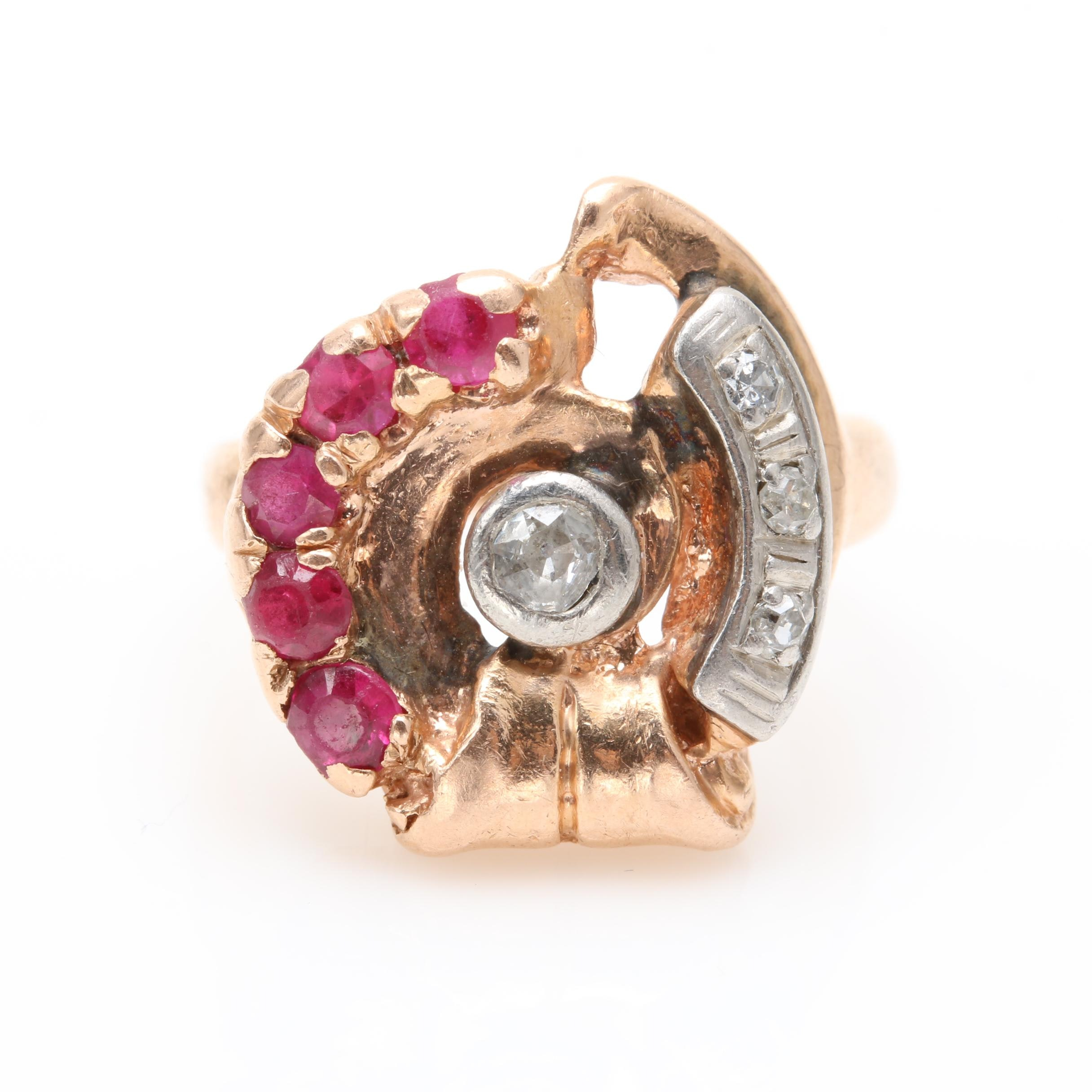 14K Yellow Gold and Palladium Diamond and Synthetic Ruby Ring