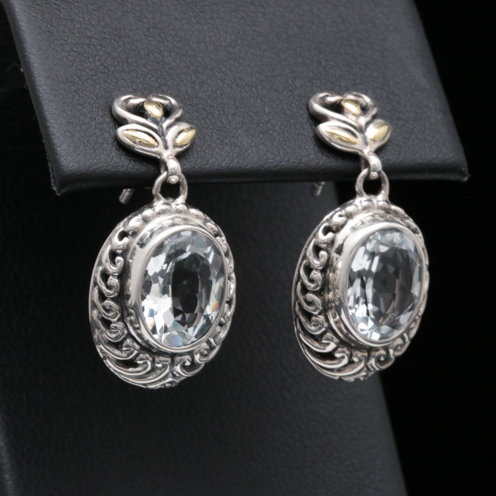 Robert Manse Sterling Silver, 18K Yellow Gold and White Topaz Earrings