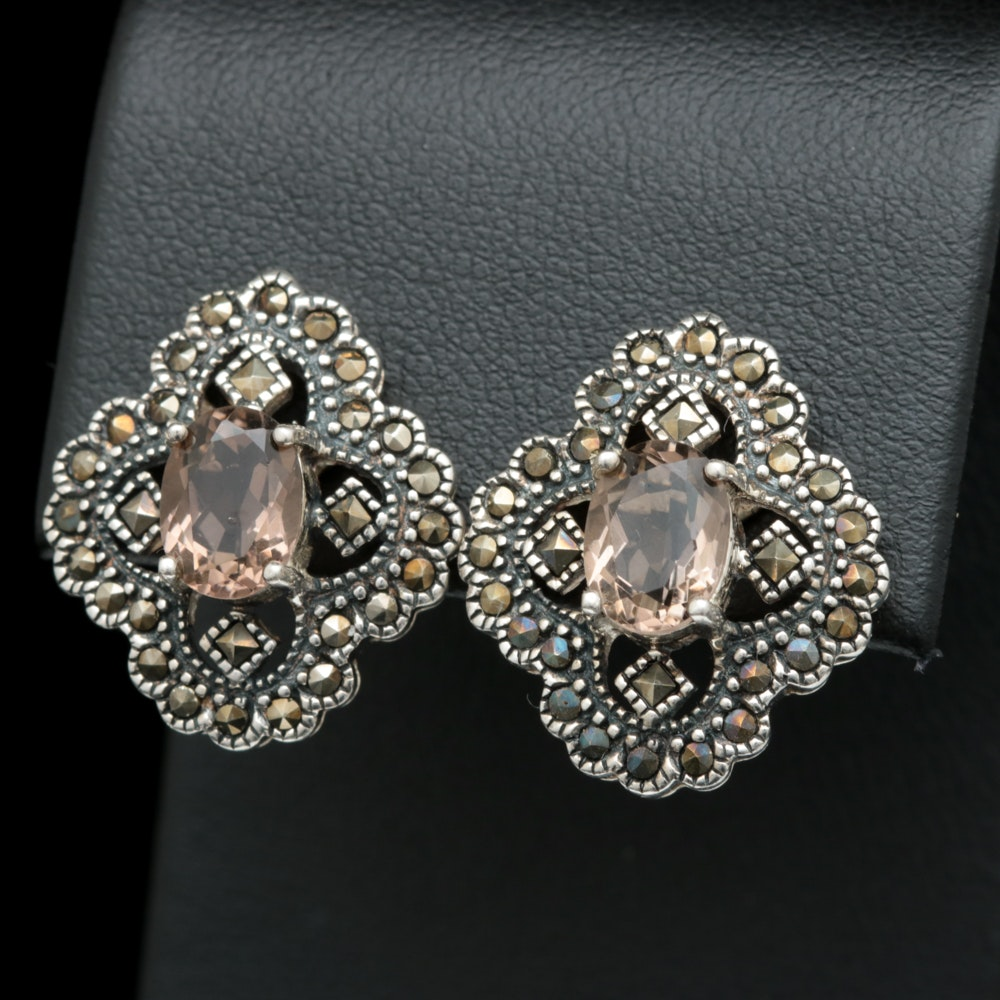 Sterling Silver, Smoky Quartz and Marcasite Earrings