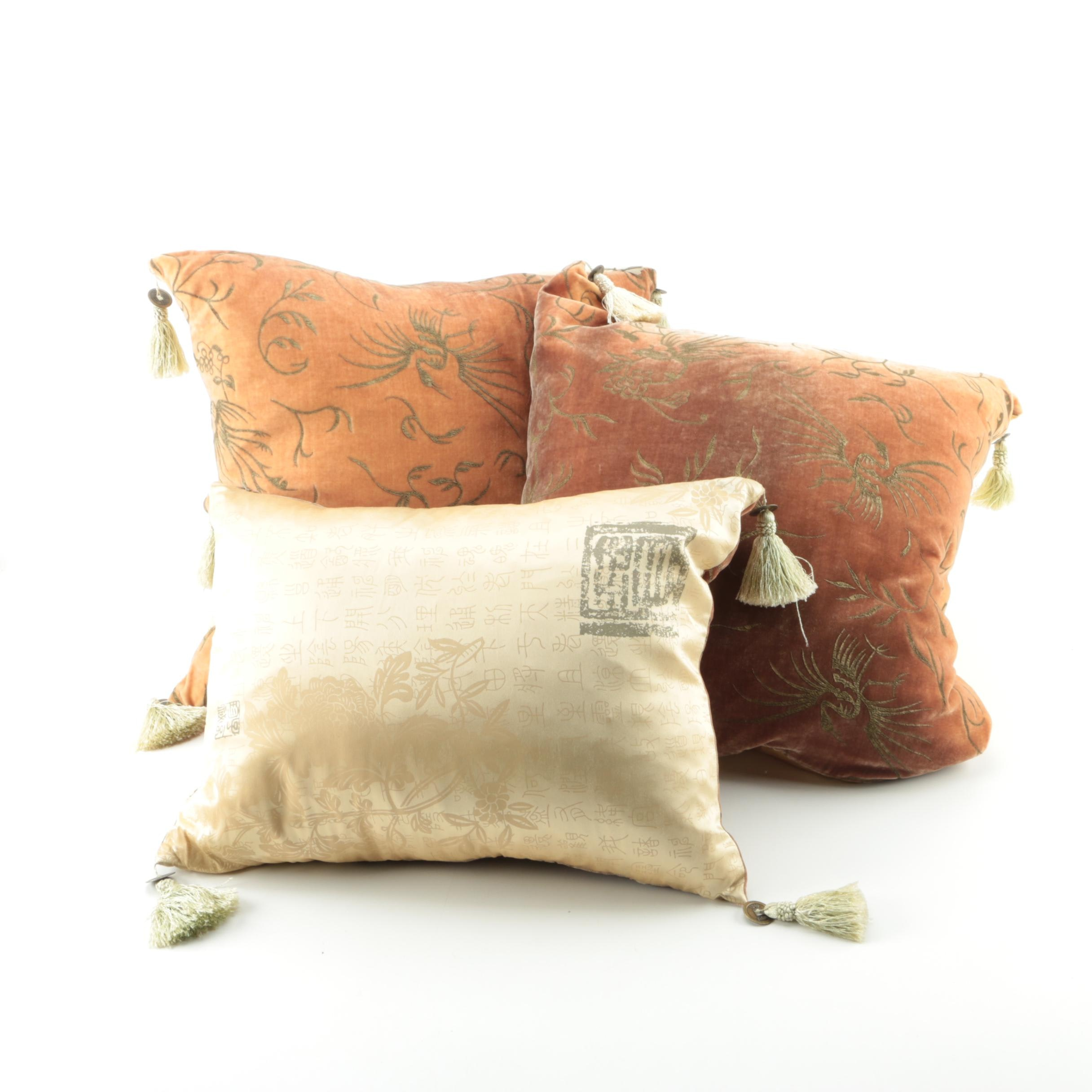 Decorative Asian Inspired Throw Pillows with Tassel Accents