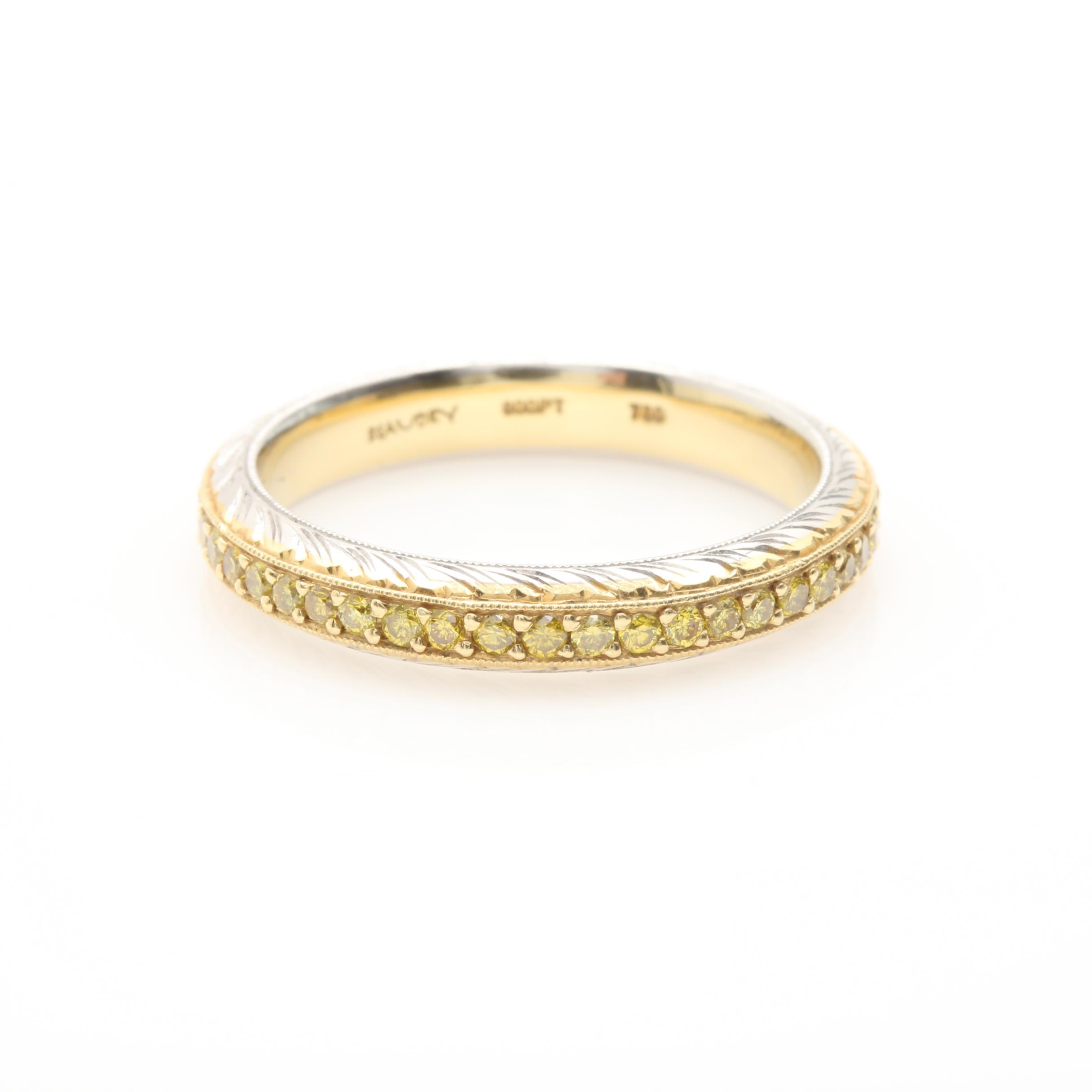 Platinum and 18K Yellow Gold Yellow Diamond Eternity Band