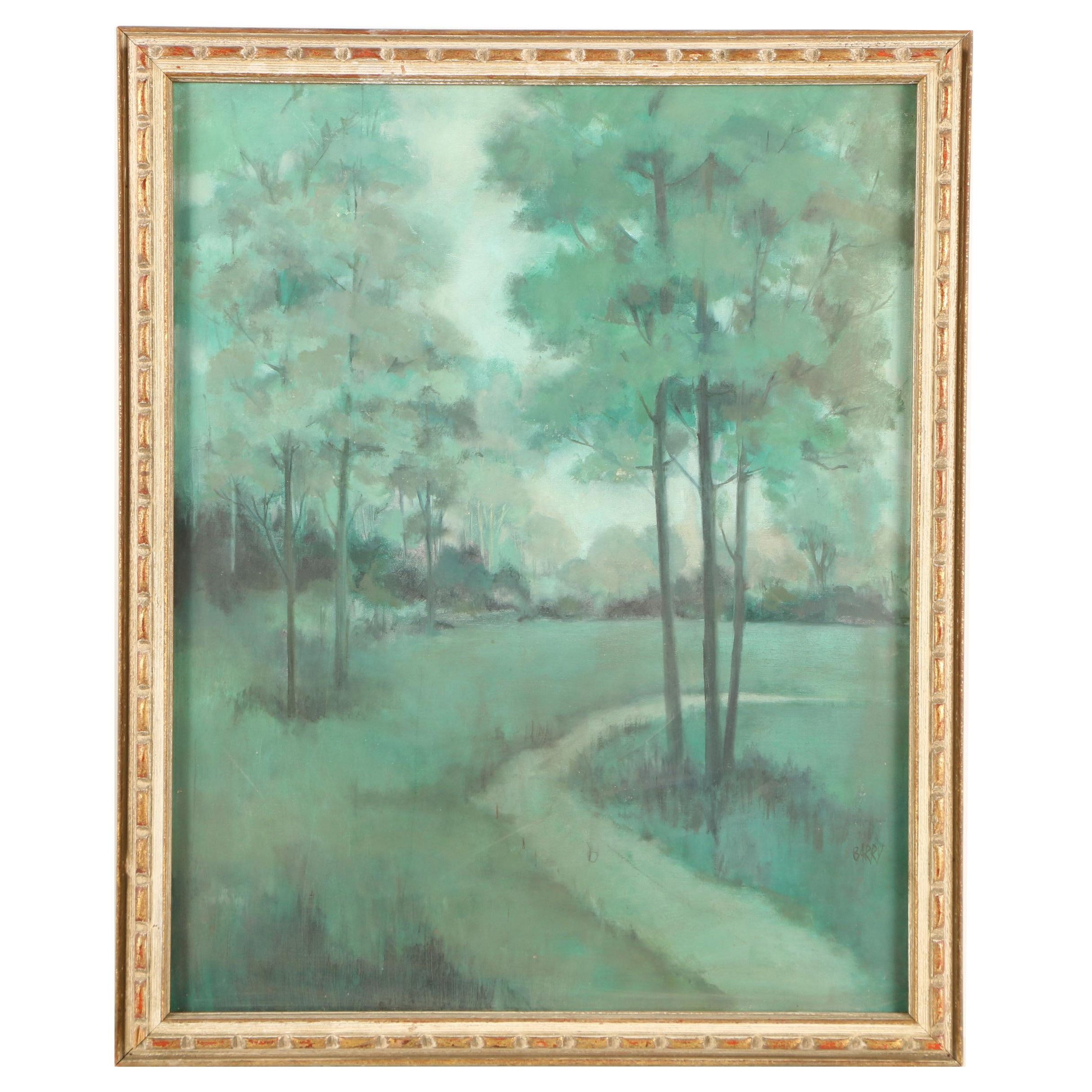 Barry Oil Painting of a Green Landscape