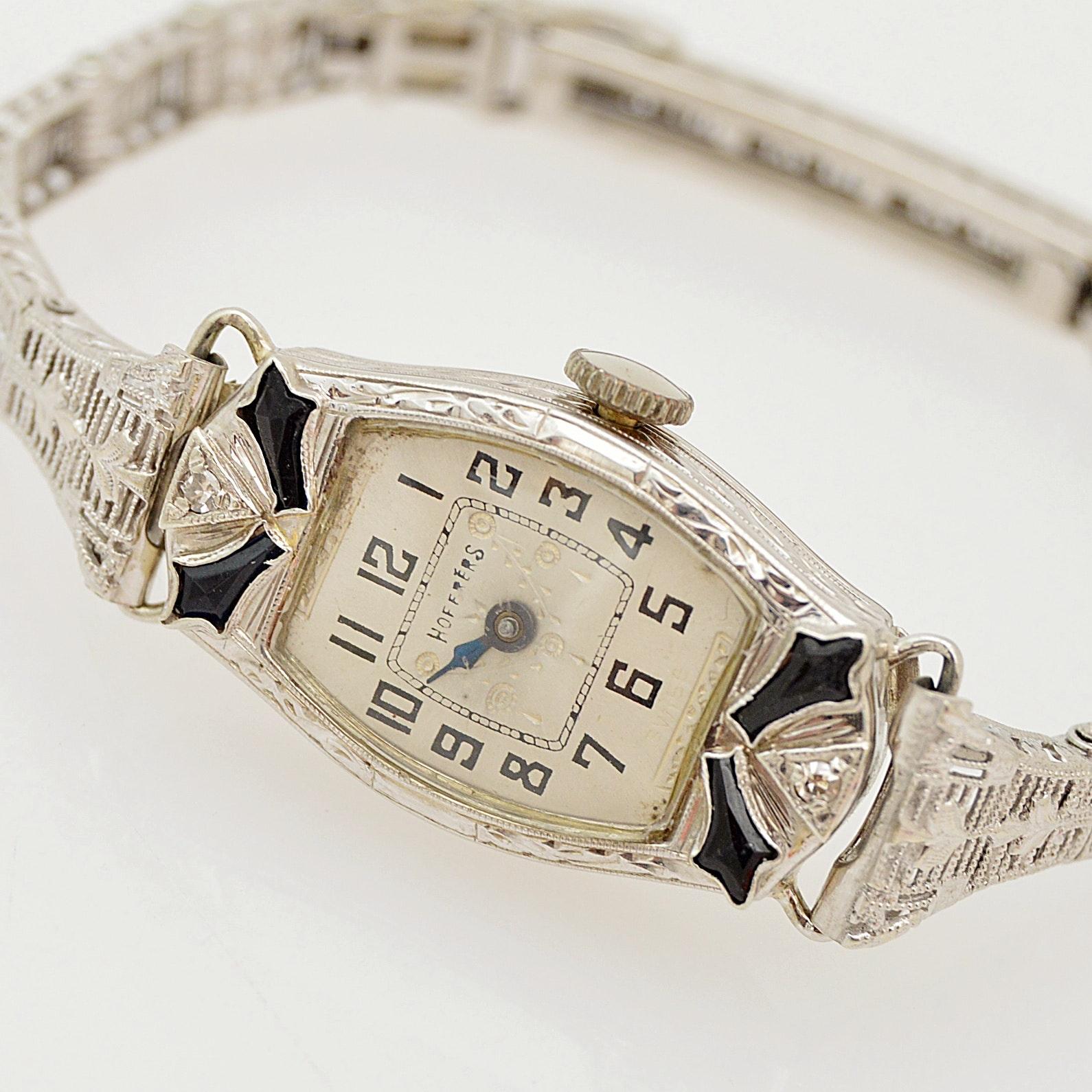 Art Deco Hoffres 14K White Gold, Diamond and Blue Glass Wristwatch