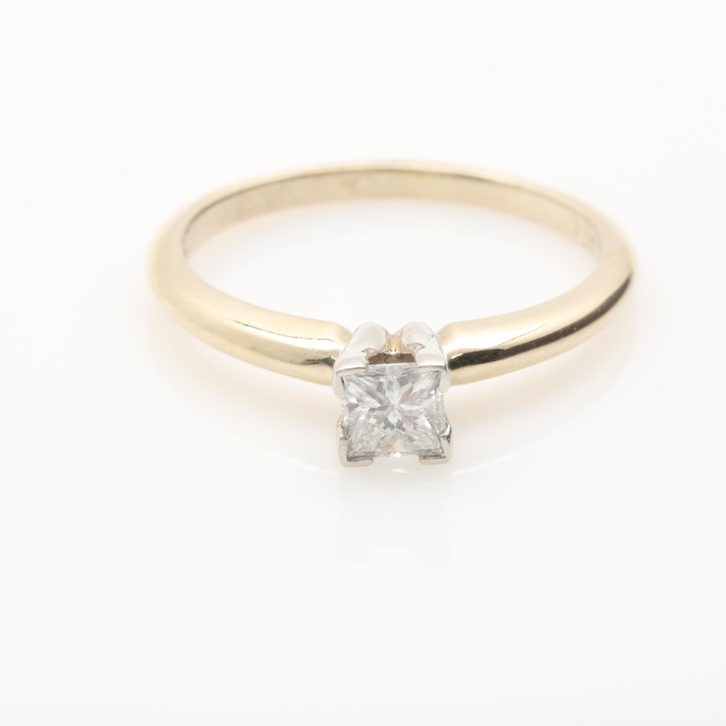 18K Yellow Gold Diamond Solitaire Ring with Platinum Accents