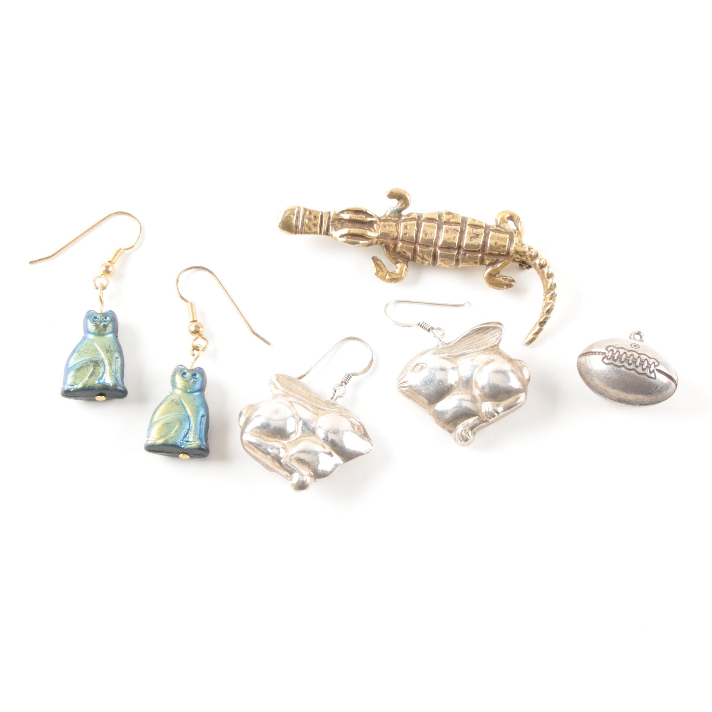 Sterling Silver and Gold Tone Charm, Earrings and Brooches Including Resin