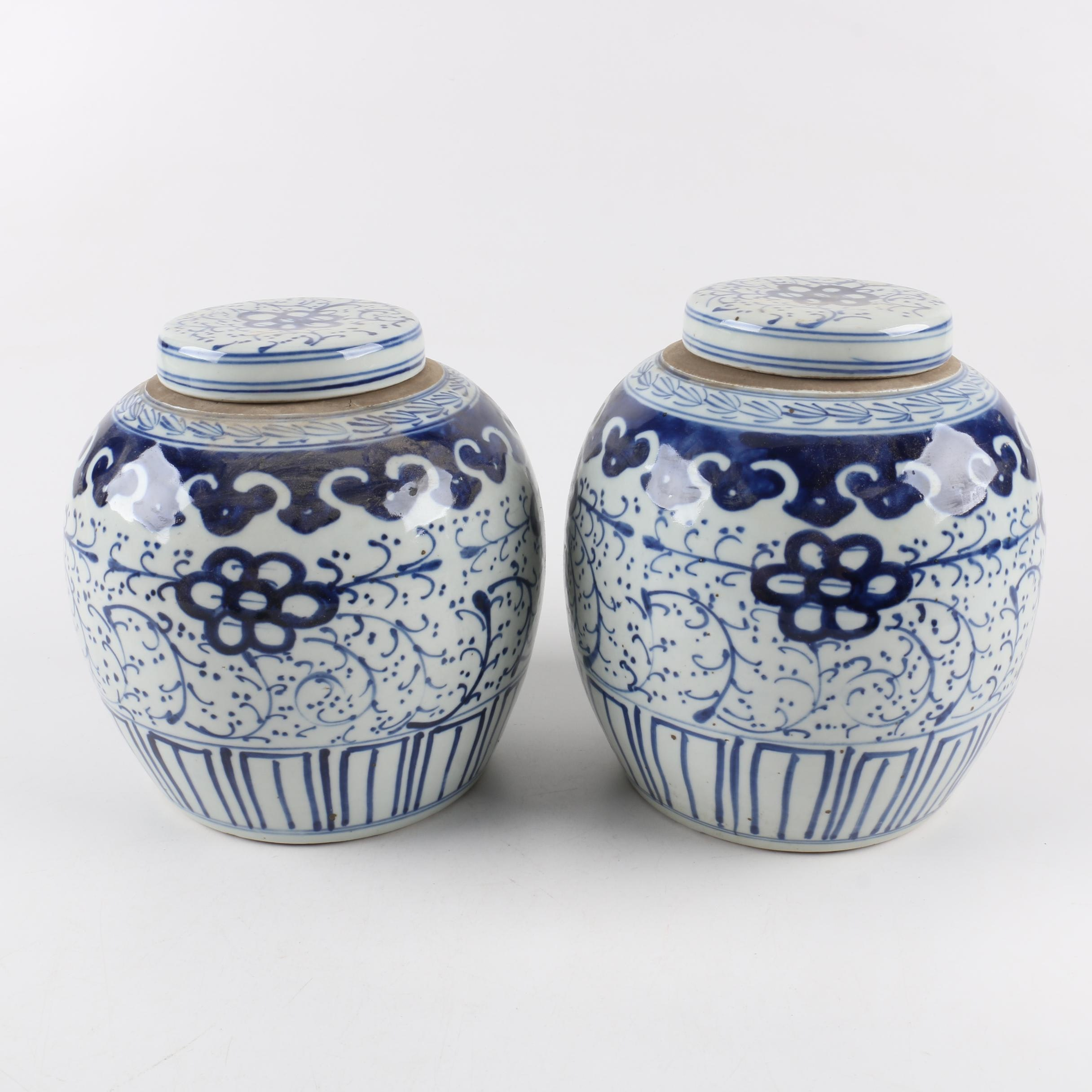 Chinese Ceramic Ginger Jars with Lids