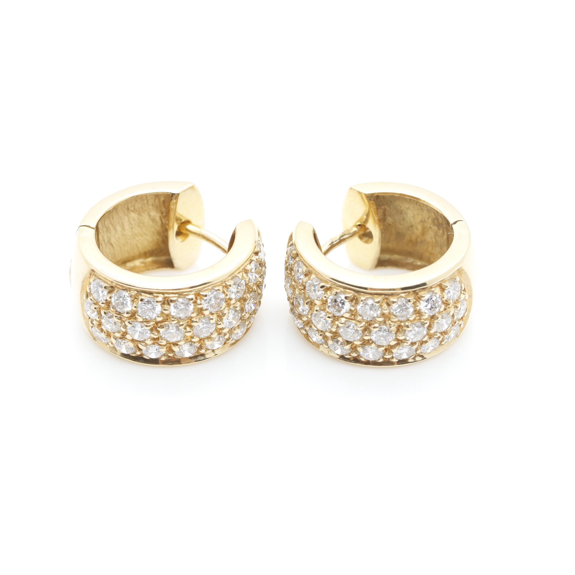 18K Yellow Gold 1.44 CTW Diamond Huggie Hoop Earrings