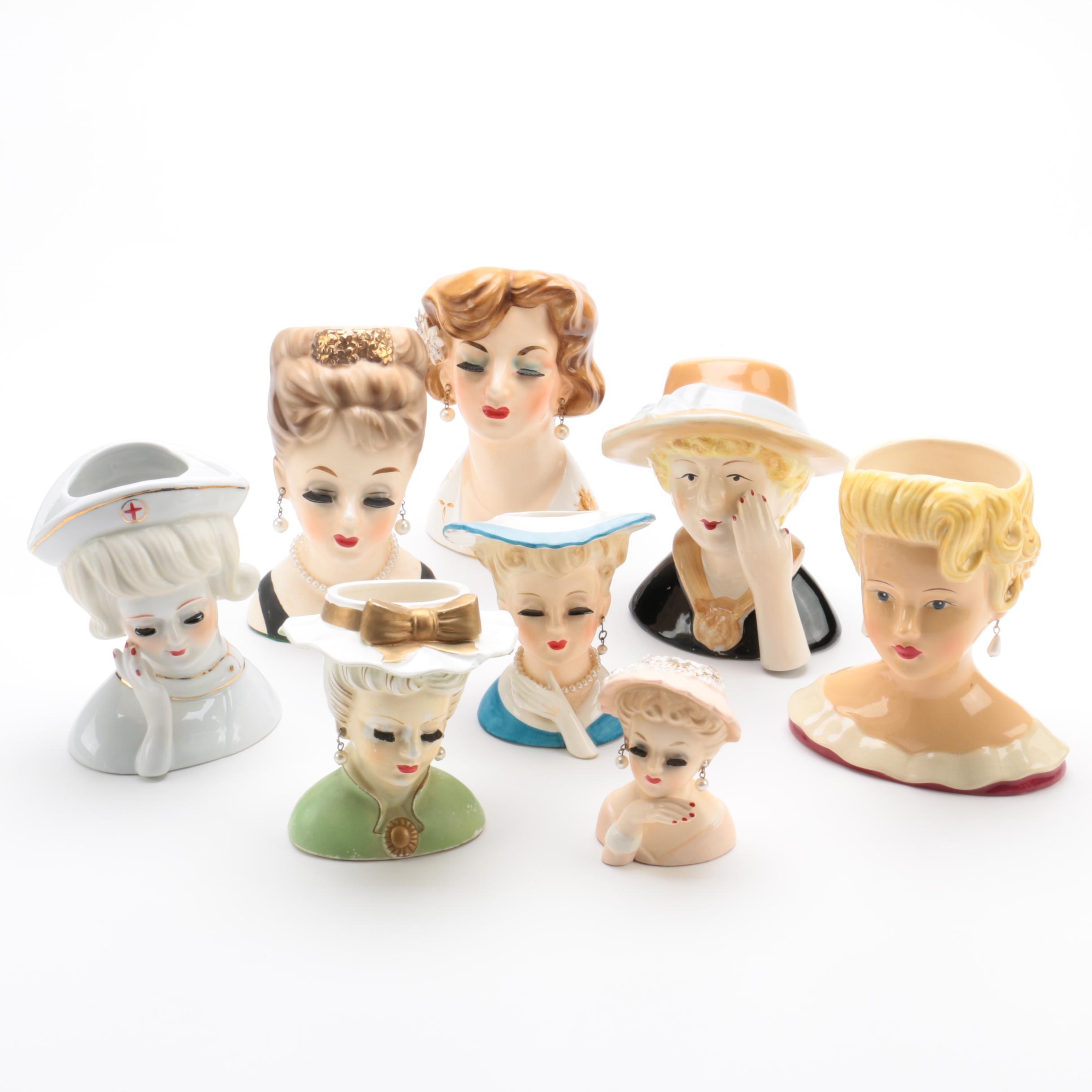 Ceramic Women Bust Vases Including Nippon
