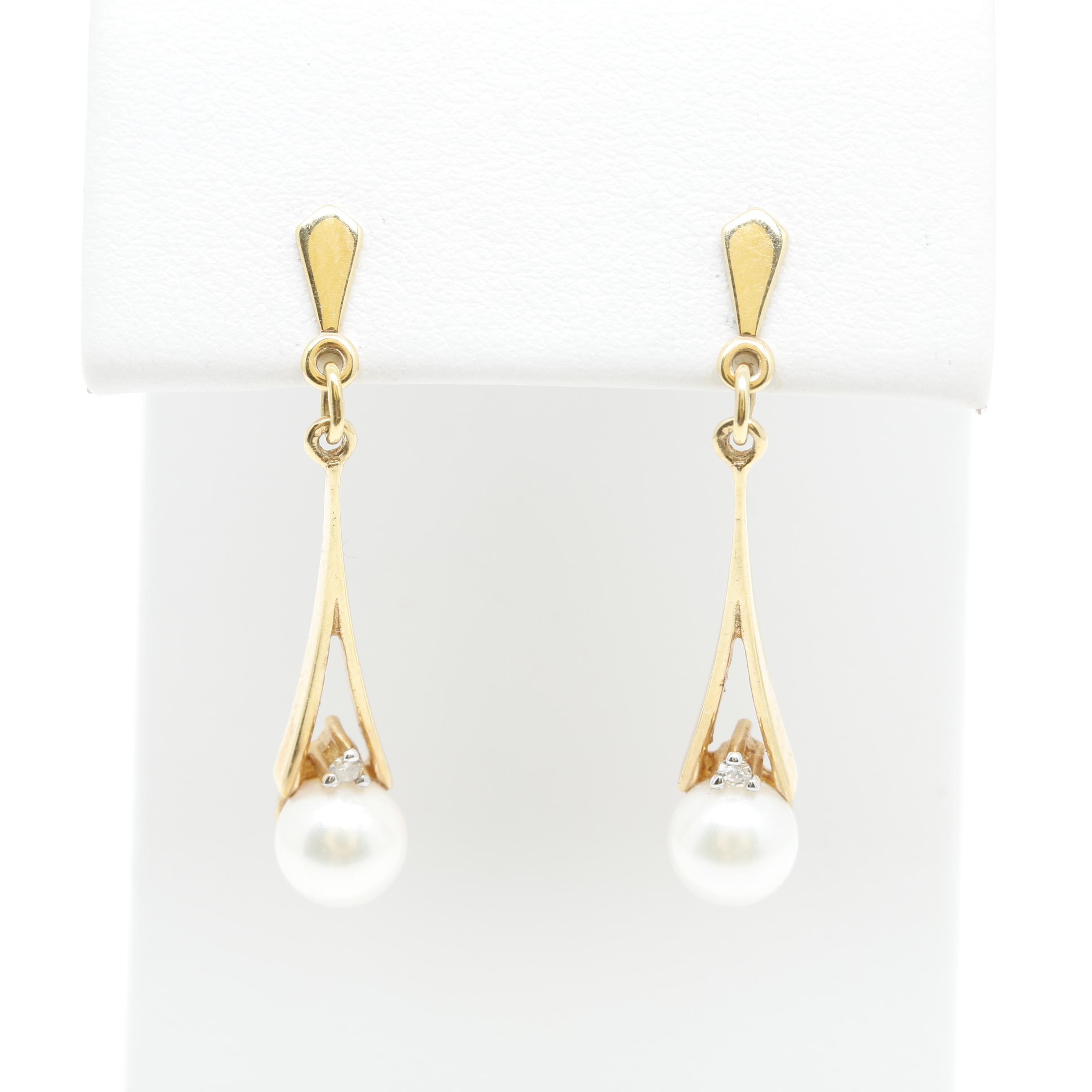 14K Yellow Gold Pearl and Diamond Dangle Earring