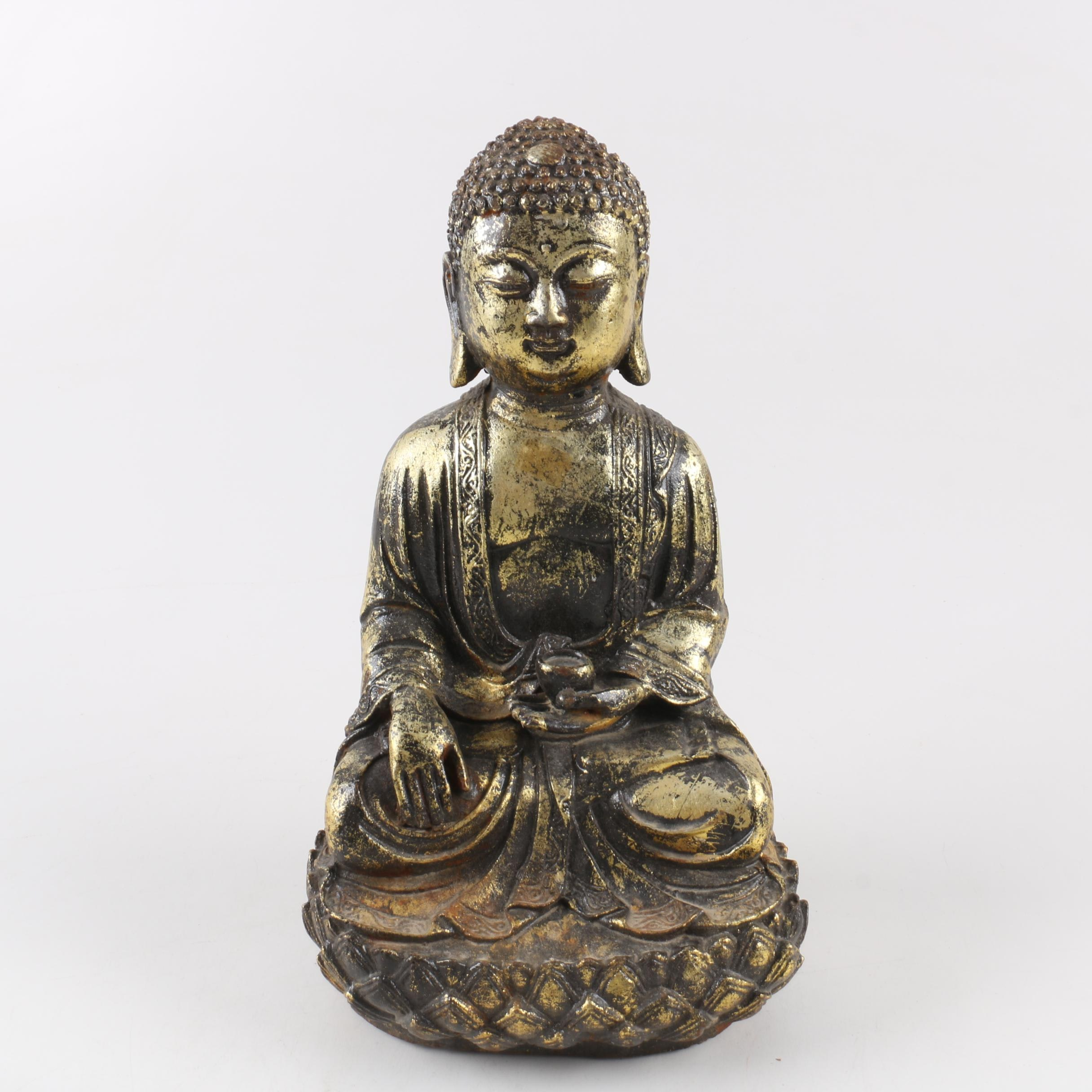 Gold-Tone Gautama Buddha on Lotus Statue