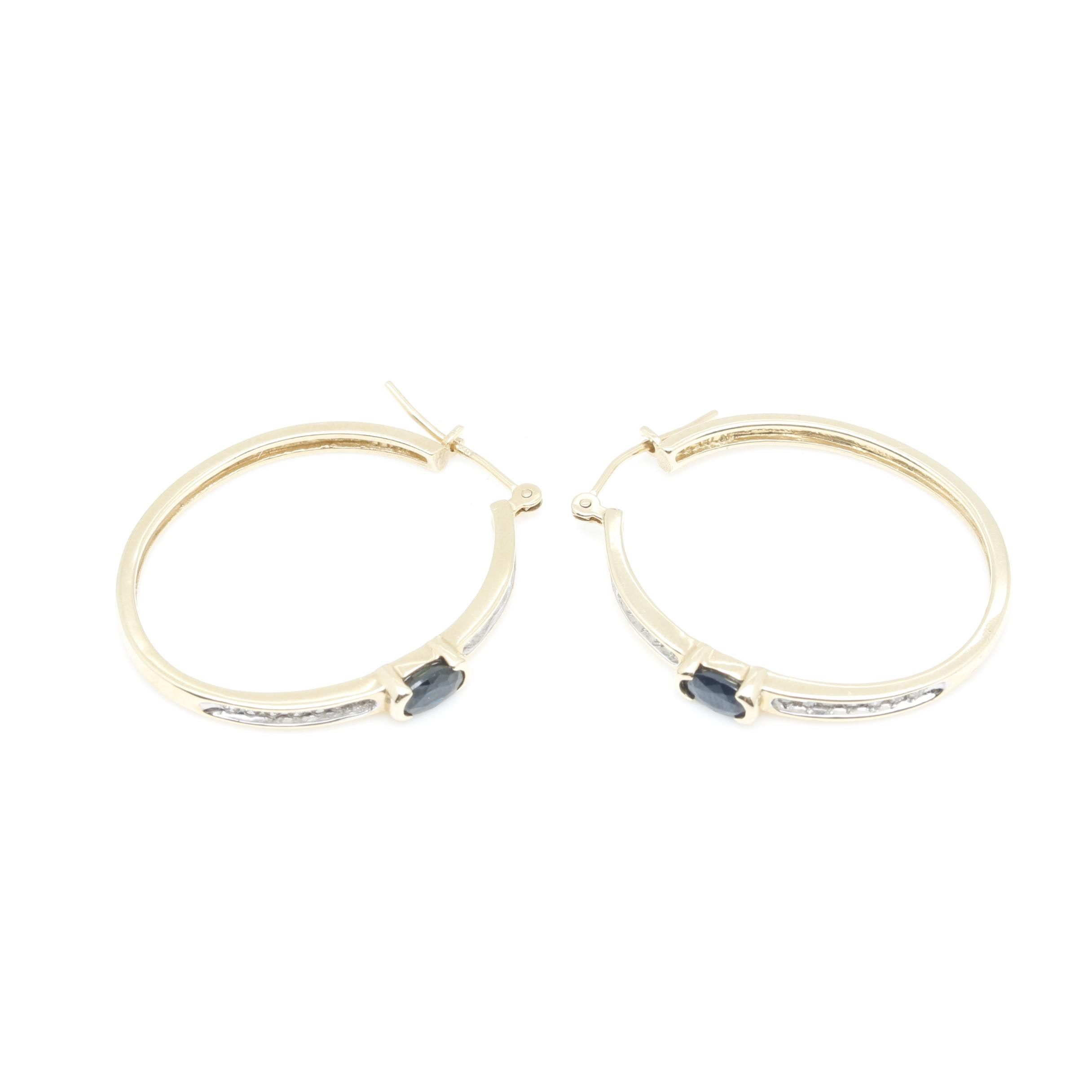 14K Yellow Gold Blue Sapphire and Diamond Hoop Earrings