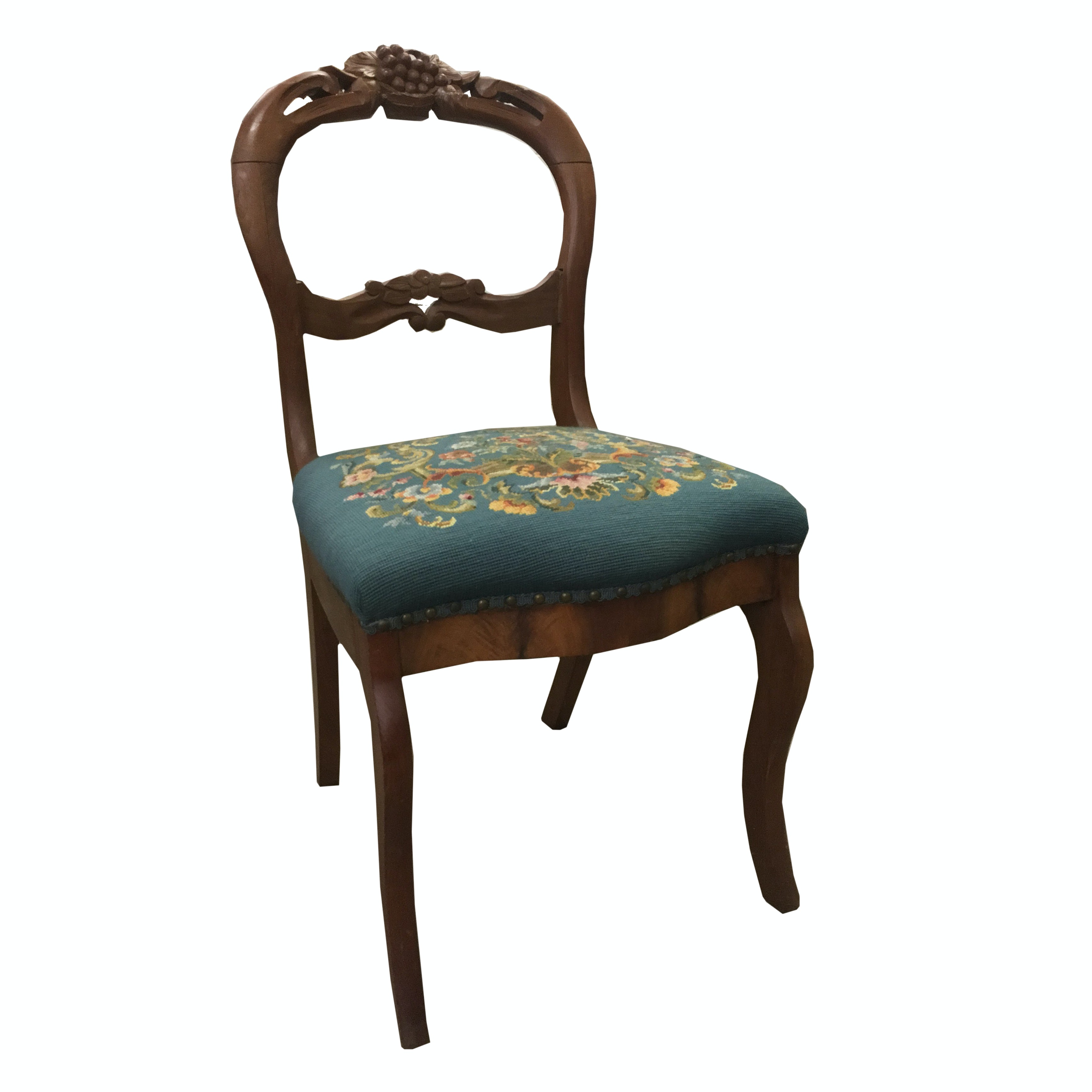 Victorian Carved Walnut Chair With Needlepoint Seat