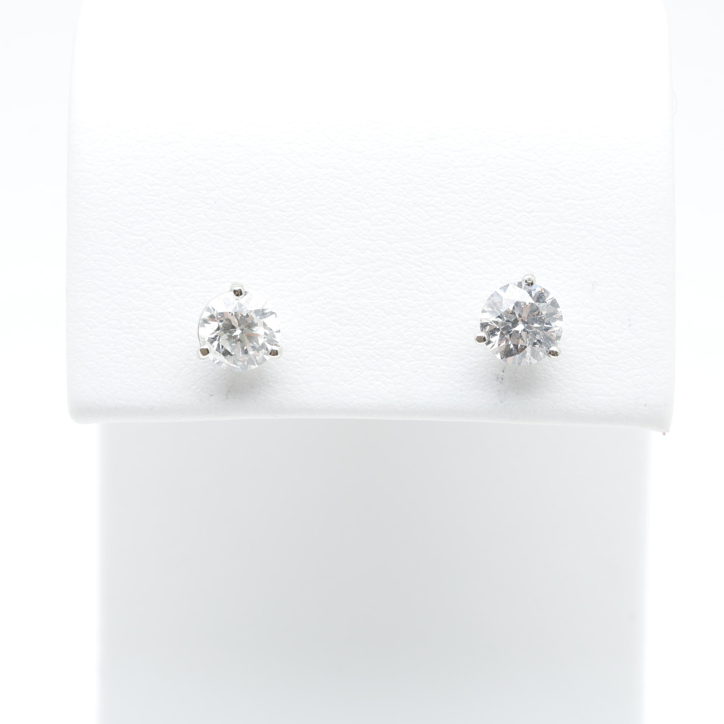 14K White Gold 1.16 CTW Diamond Stud Earrings