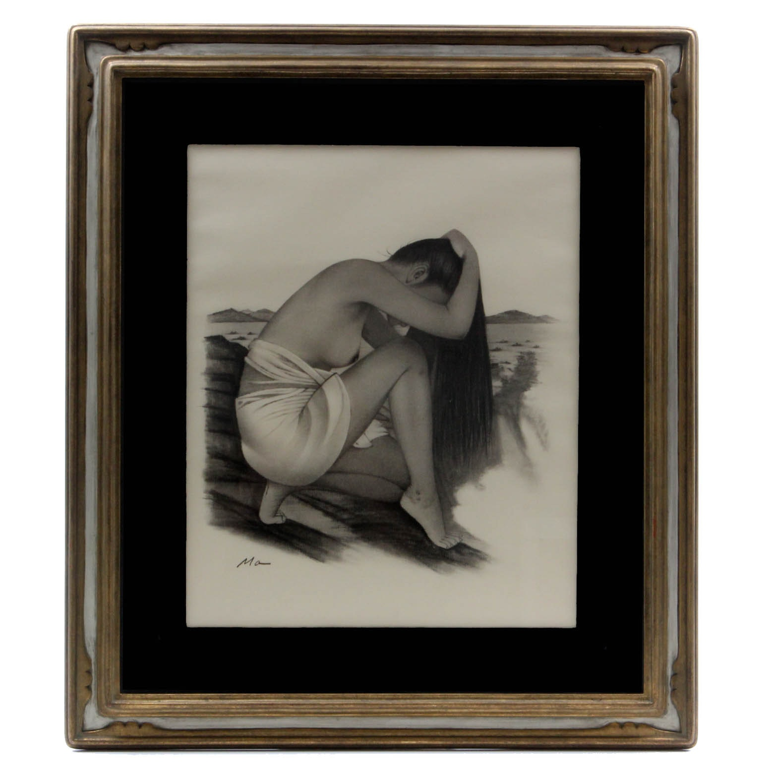 Ma Charcoal Drawing of a Woman Bathing