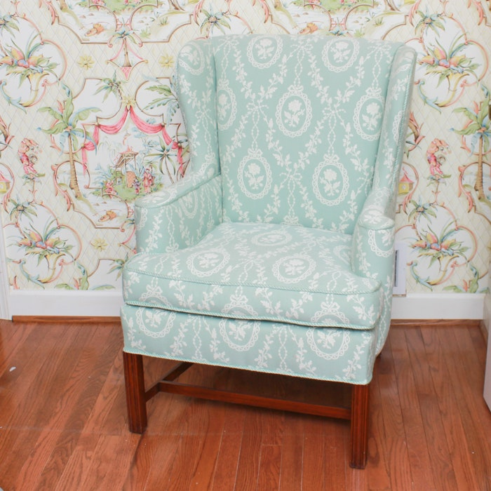 Chippendale Style Wing Chair in Floral Print