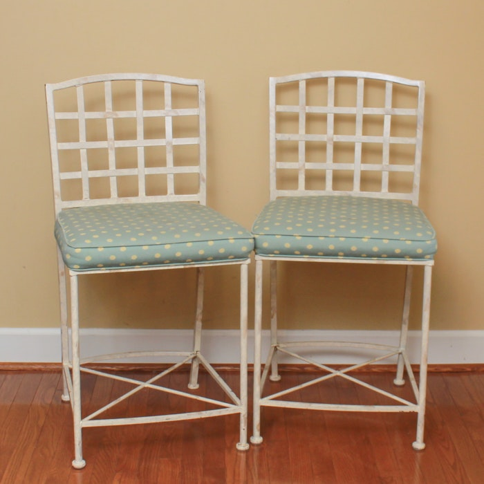 Pair of Woven Metal Counter Stools