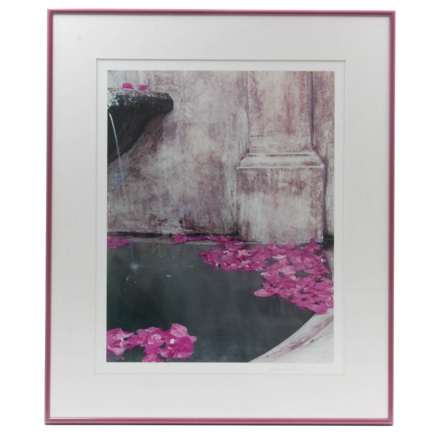 Water Flowers and Stone Column Signed Photograph