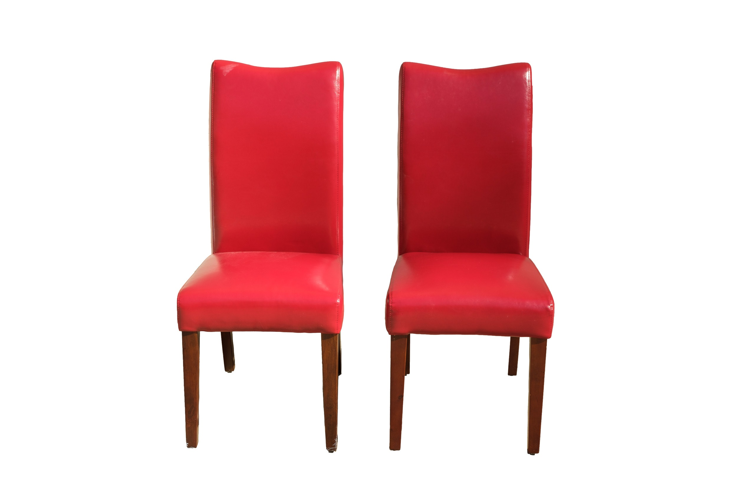 Pair of Red Leather Side Chairs