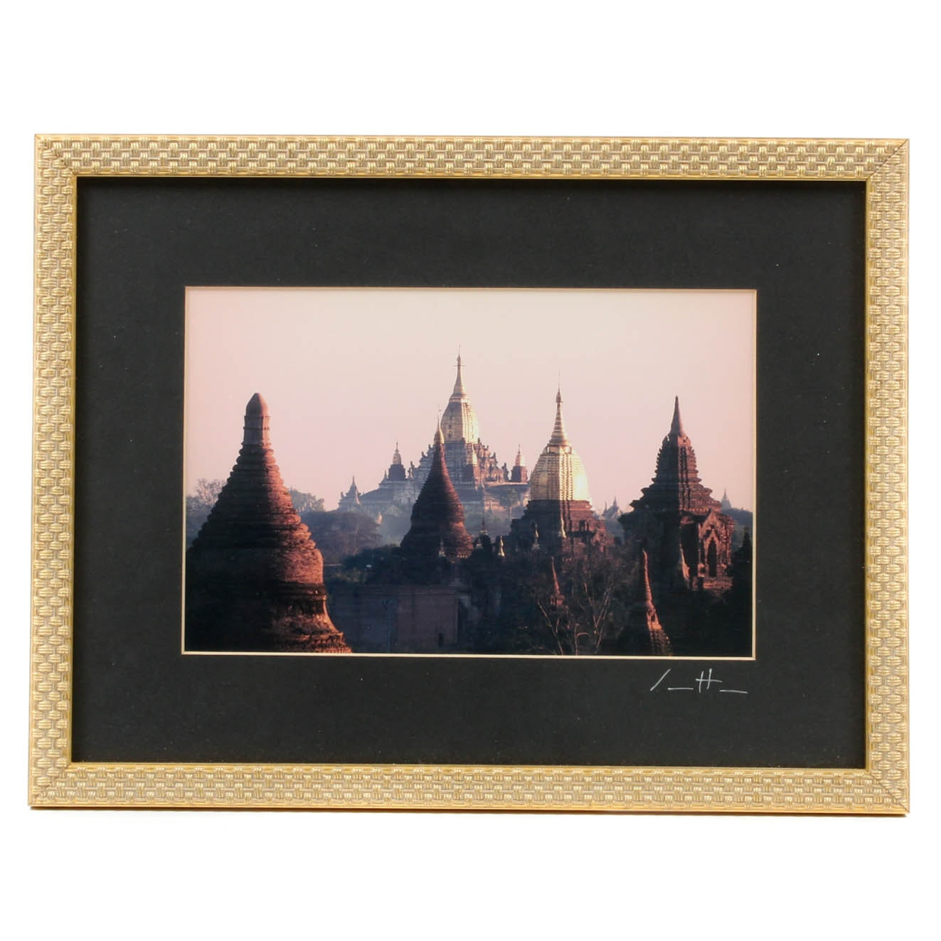 Framed Photograph from Thailand of Temple