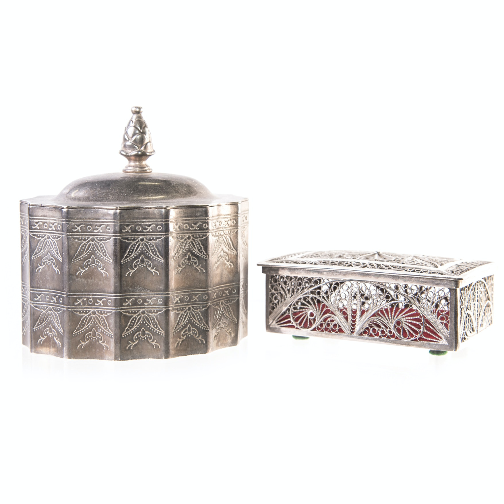 Silver Tone Trinket Boxes Featuring Godinger