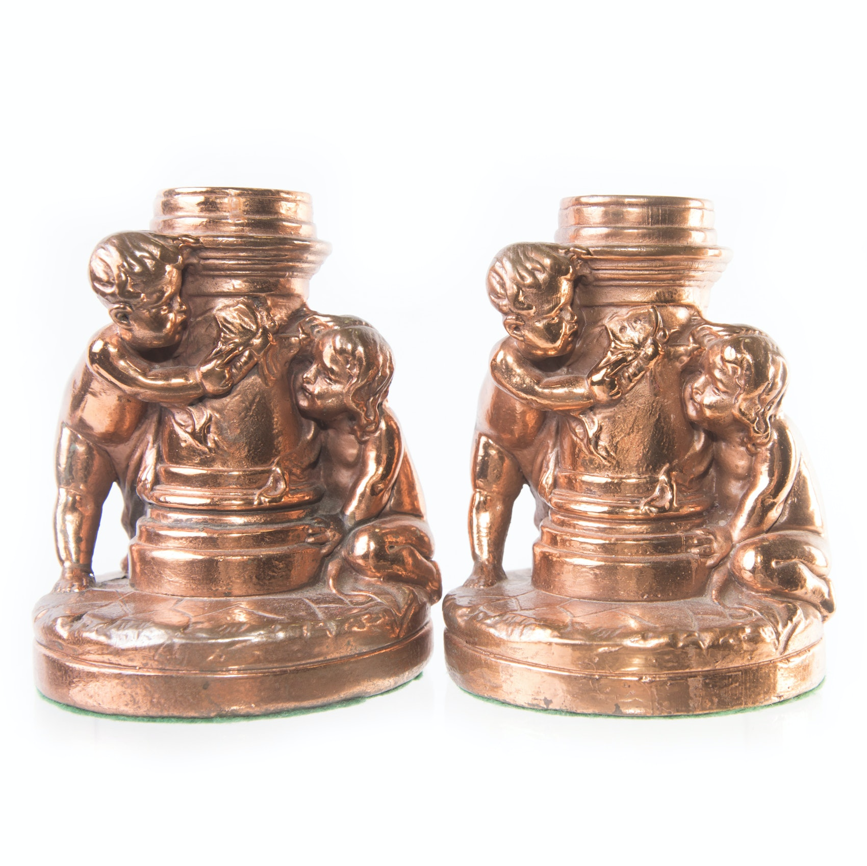 Vintage Copper Finish Brass Candle Holders