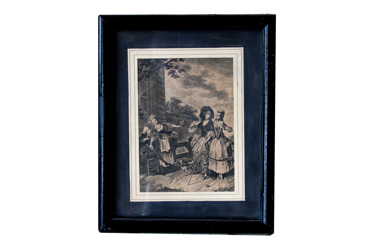 Antique Engraving of Victorian Women