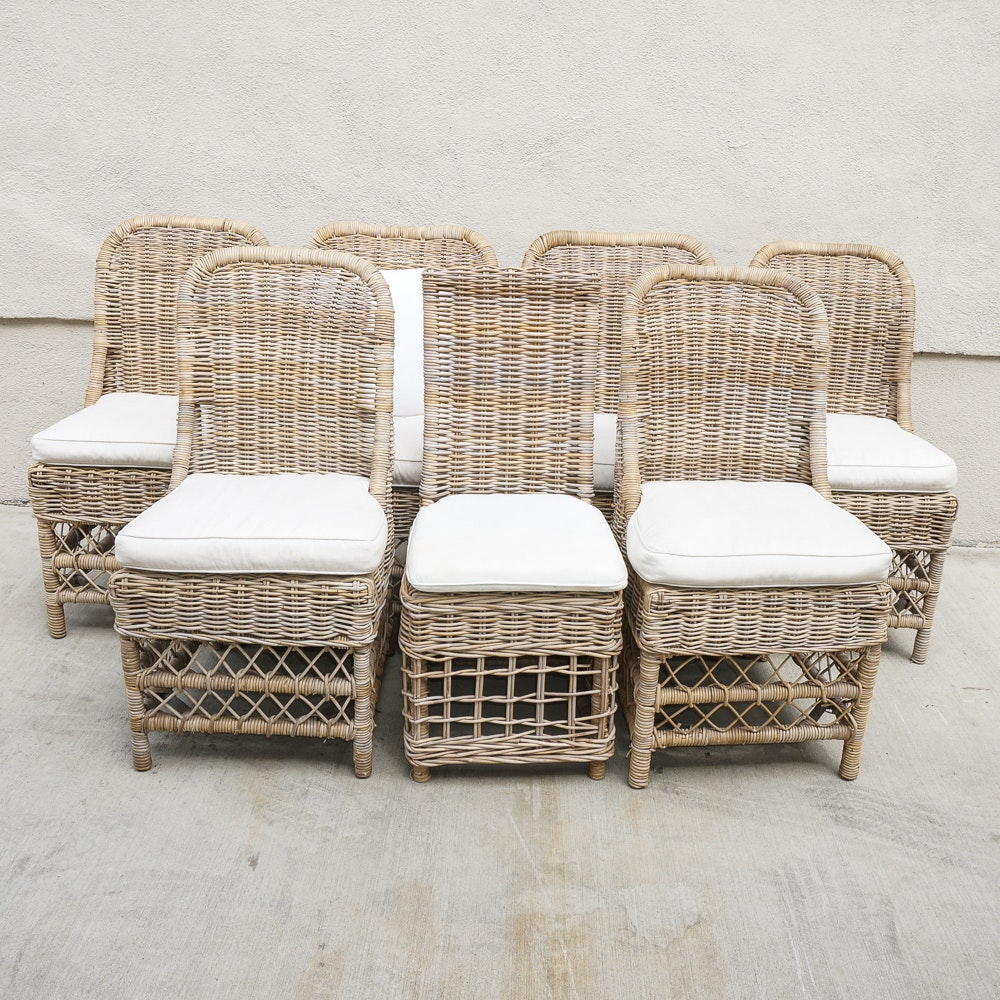 Set Of Wicker Dining Chairs With Additional Side Chair ...