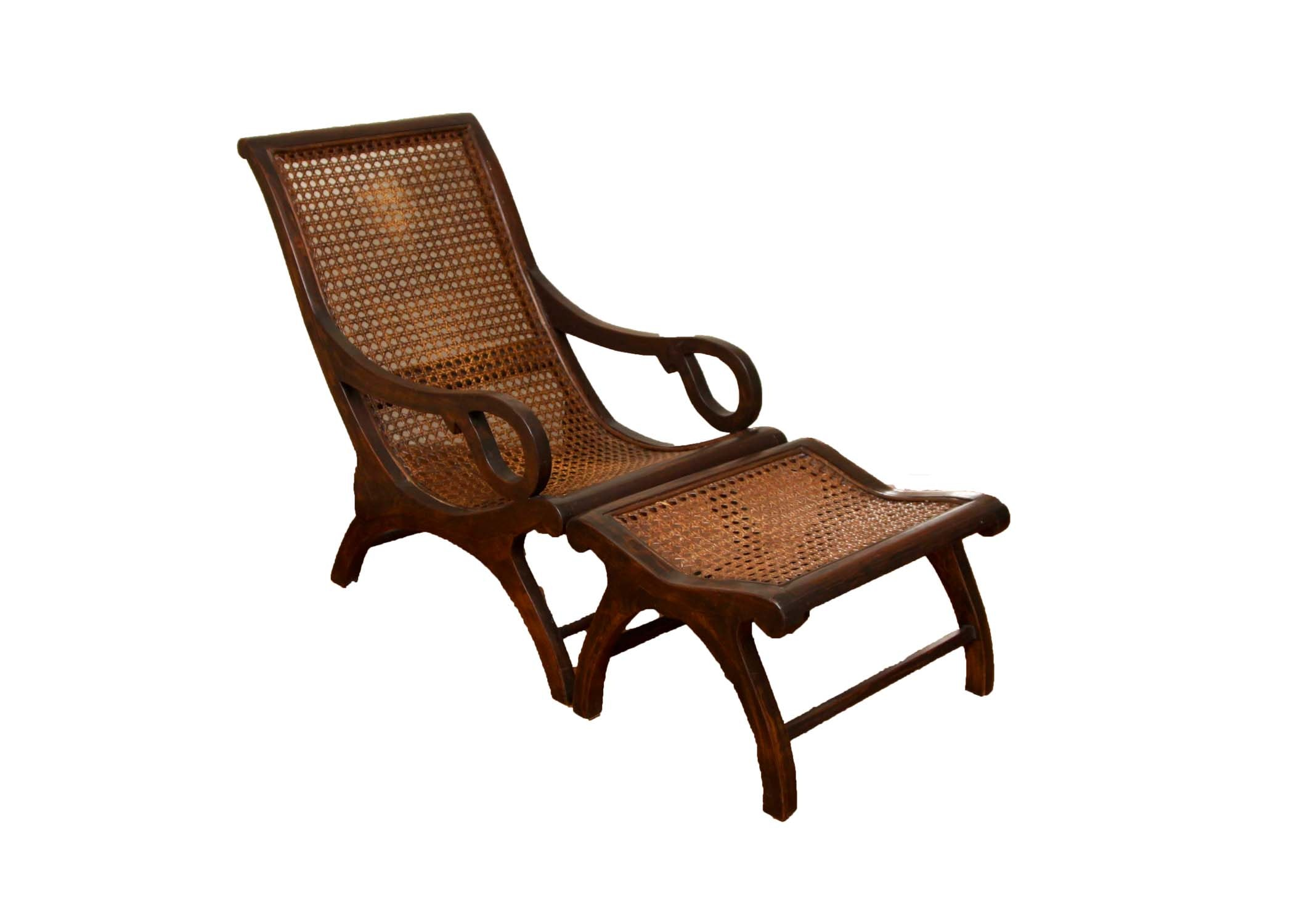"Asian Inspired Caned ""Safari"" Style Lounge Chair and Ottoman"
