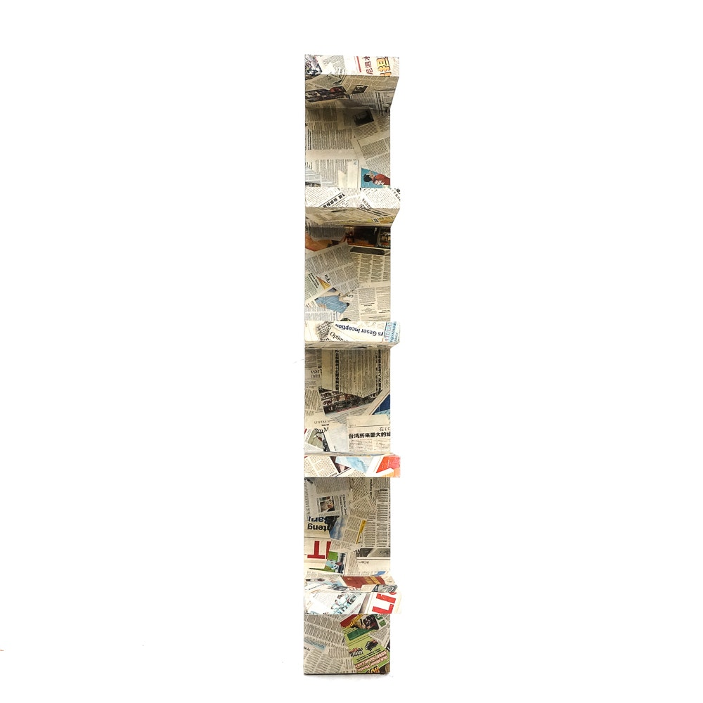 Hanging Shelving Unit with Decoupaged Foreign Newspapers