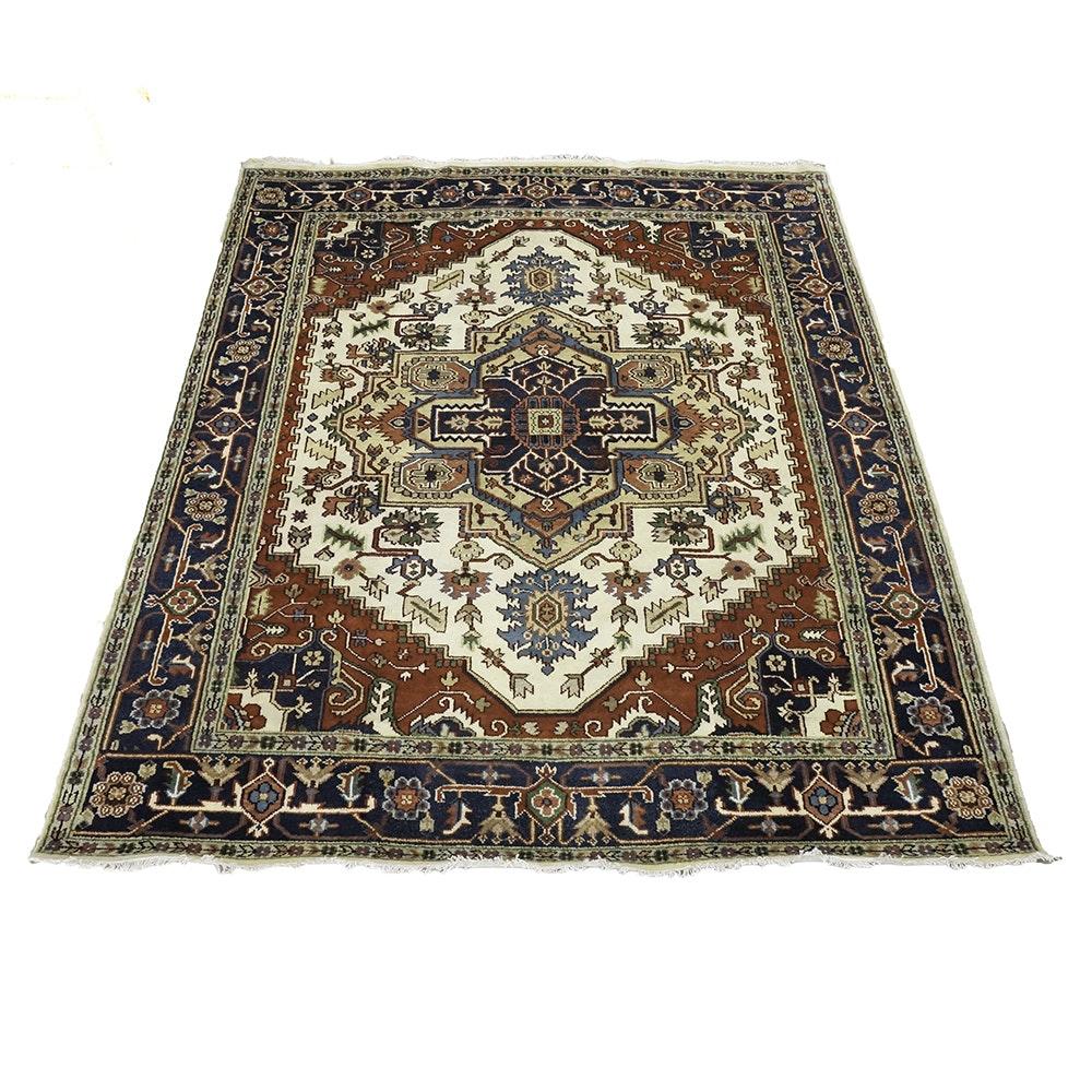 Power-Loomed Indo-Persian Heriz-Style Wool Area Rug