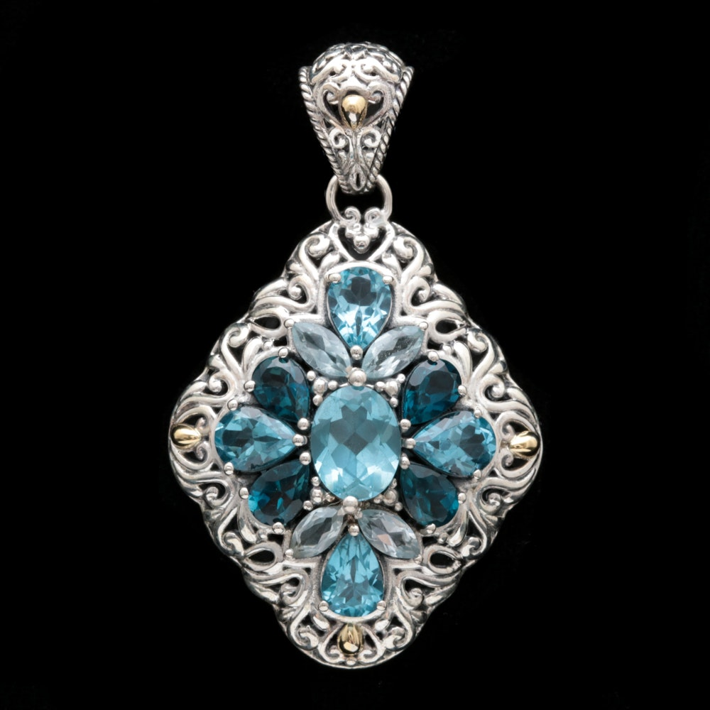 Robert Manse Sterling Silver, 18K Yellow Gold and Blue Topaz Pendant