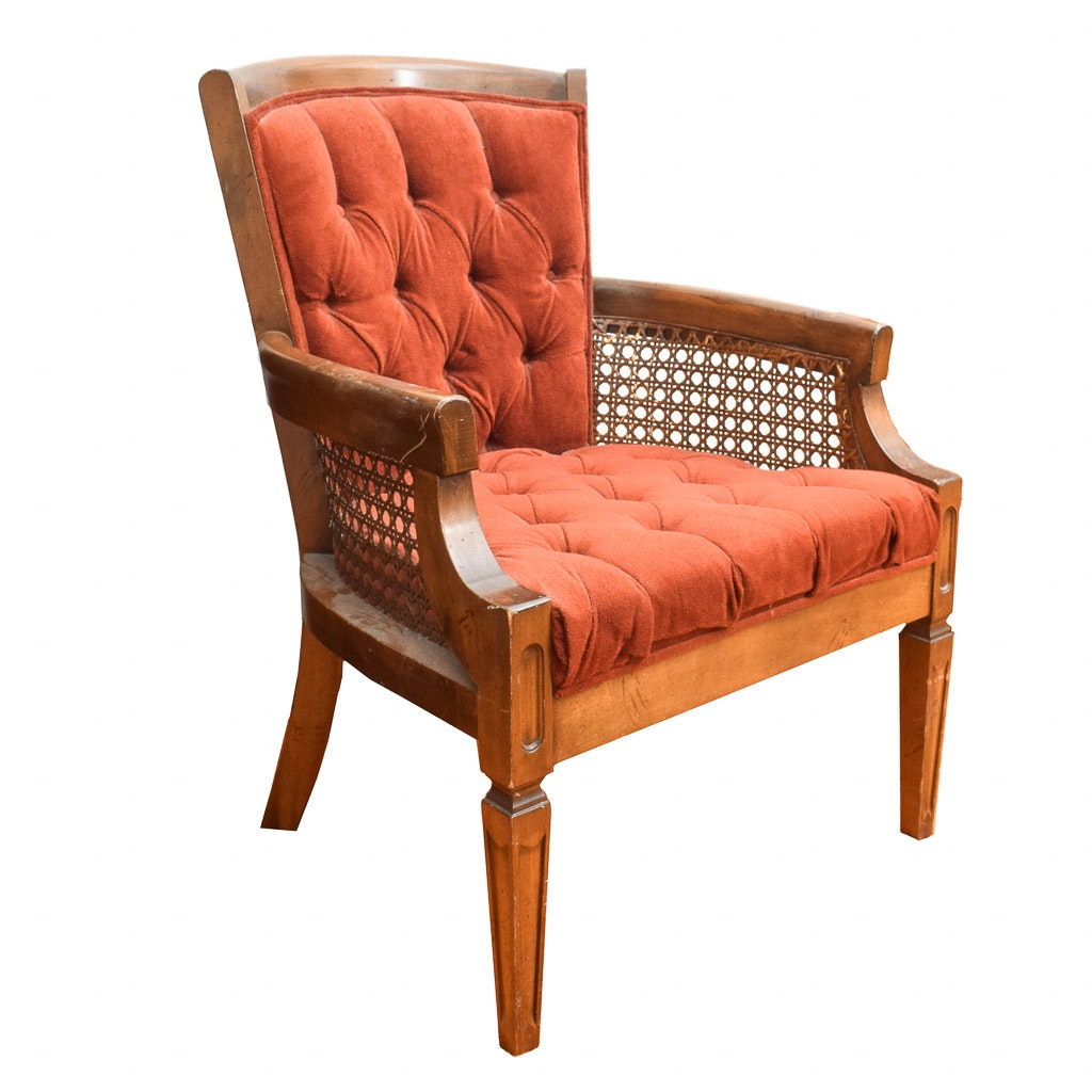 Beau Vintage Button Tufted And Cane Armchair ...