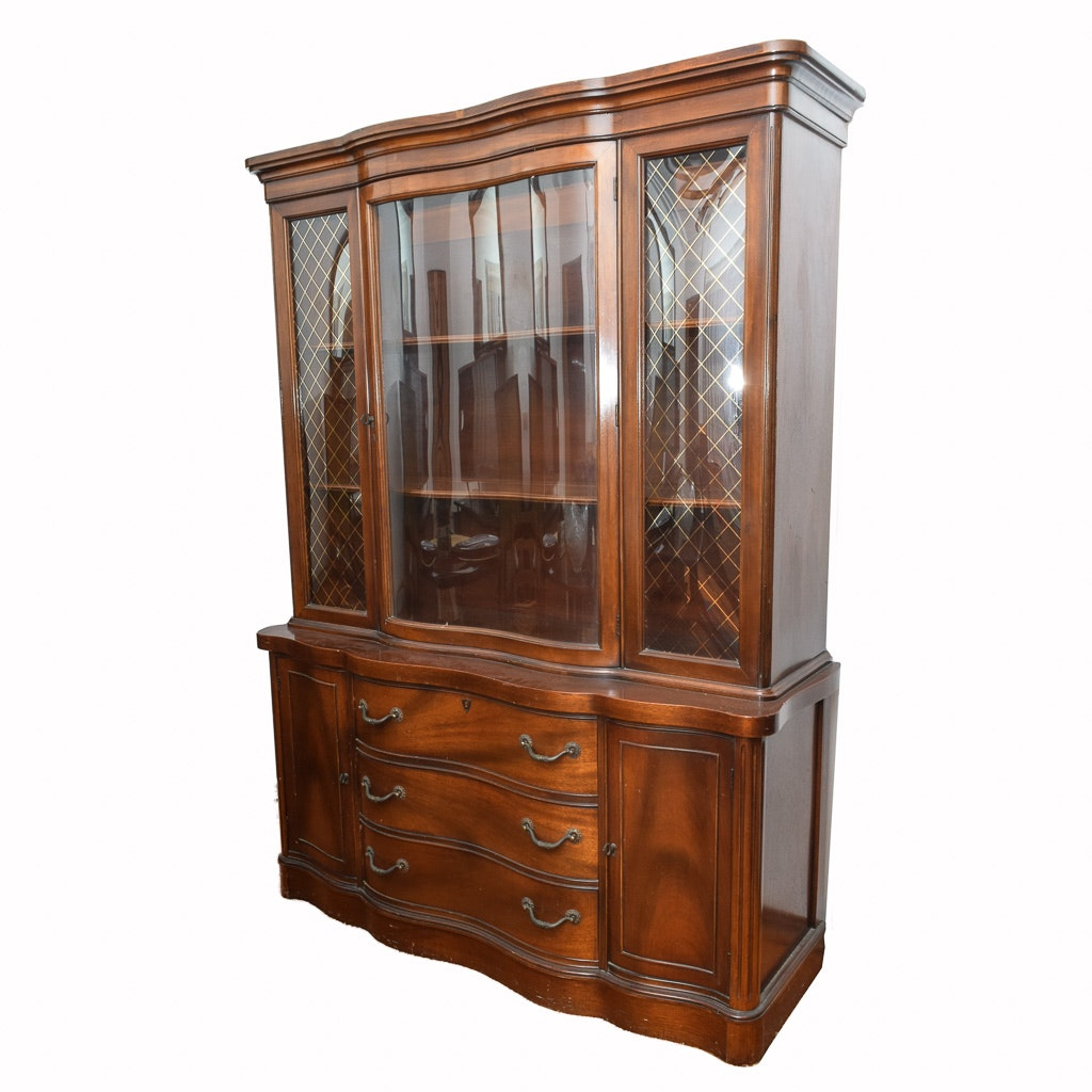Vintage Federal Style Serpentine China Cabinet ...