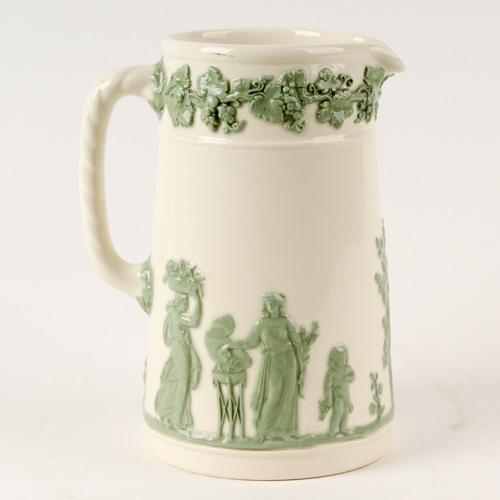 Vintage Wedgwood Embossed Queen's Ware Pitcher