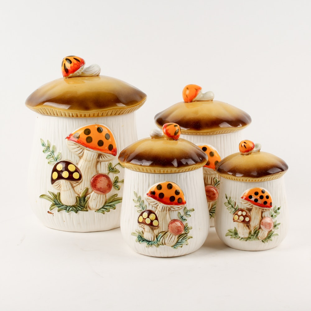 "Vintage Sears, Roebuck and Co. ""Mushroom"" Kitchen Canisters, Circa 1983"
