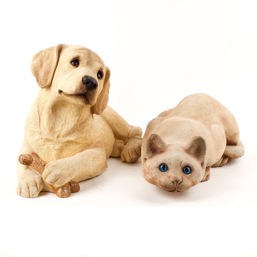 Hand Painted Sandicast Dog Figurine and Ceramic Cat Figurine