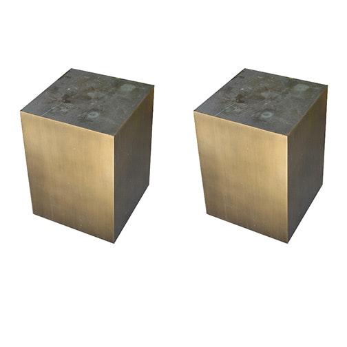 Pair of Metal Plinth End Tables